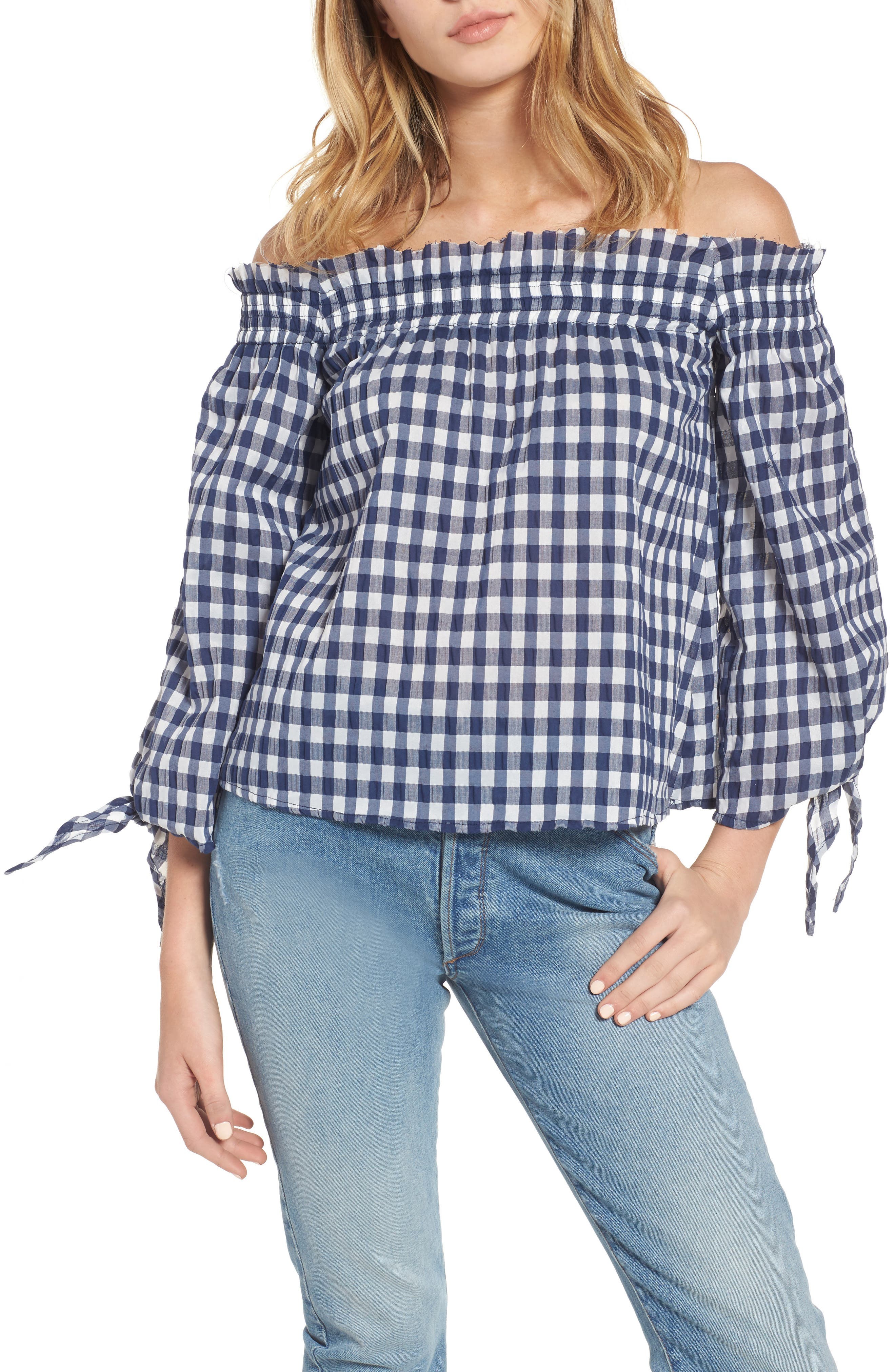 Main Image - McGuire Pina Gingham Off the Shoulder Top