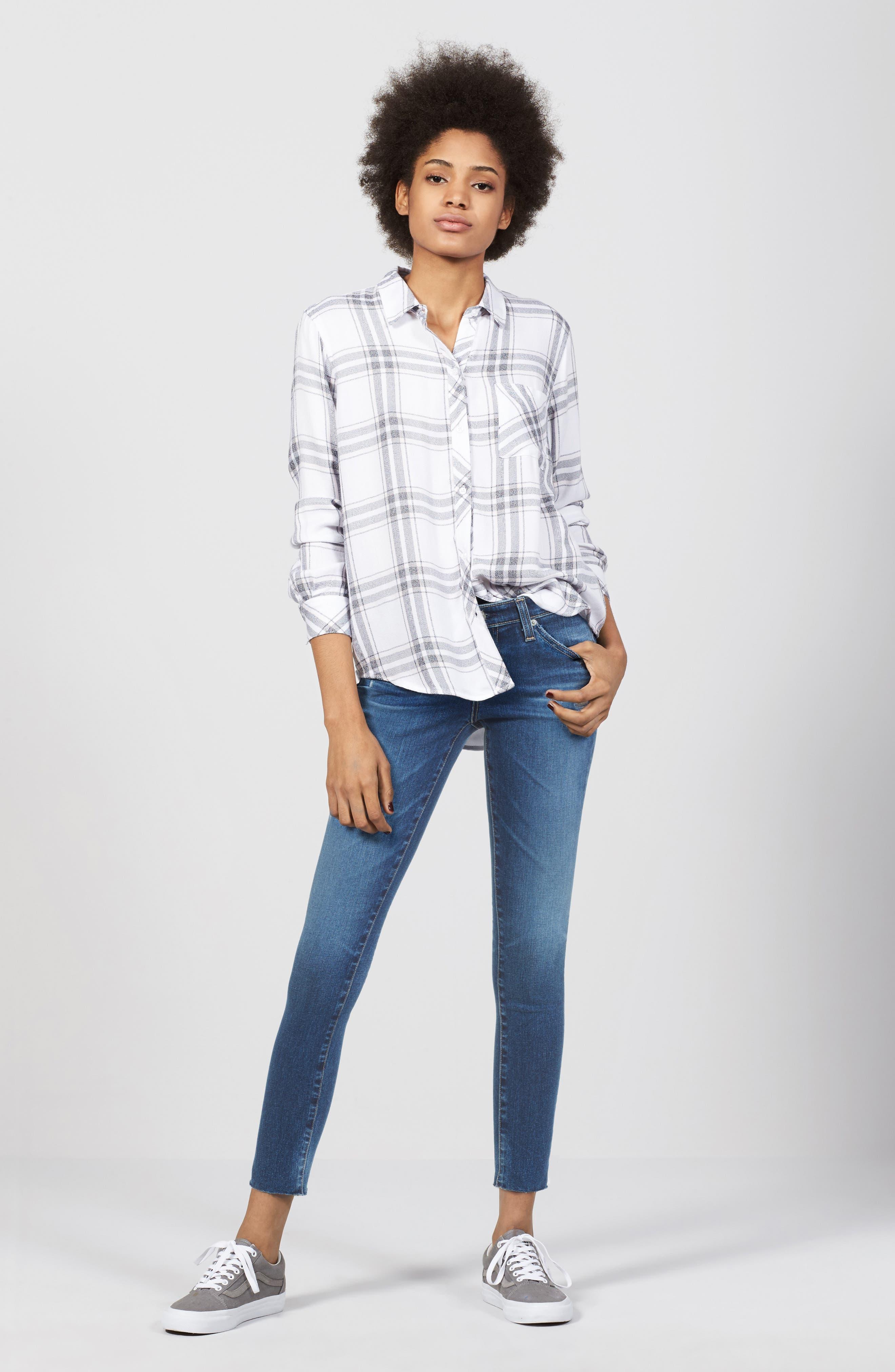 Alternate Image 2  - AG The Legging Raw Hem Ankle Skinny Jeans (12 Years Blue Dust)