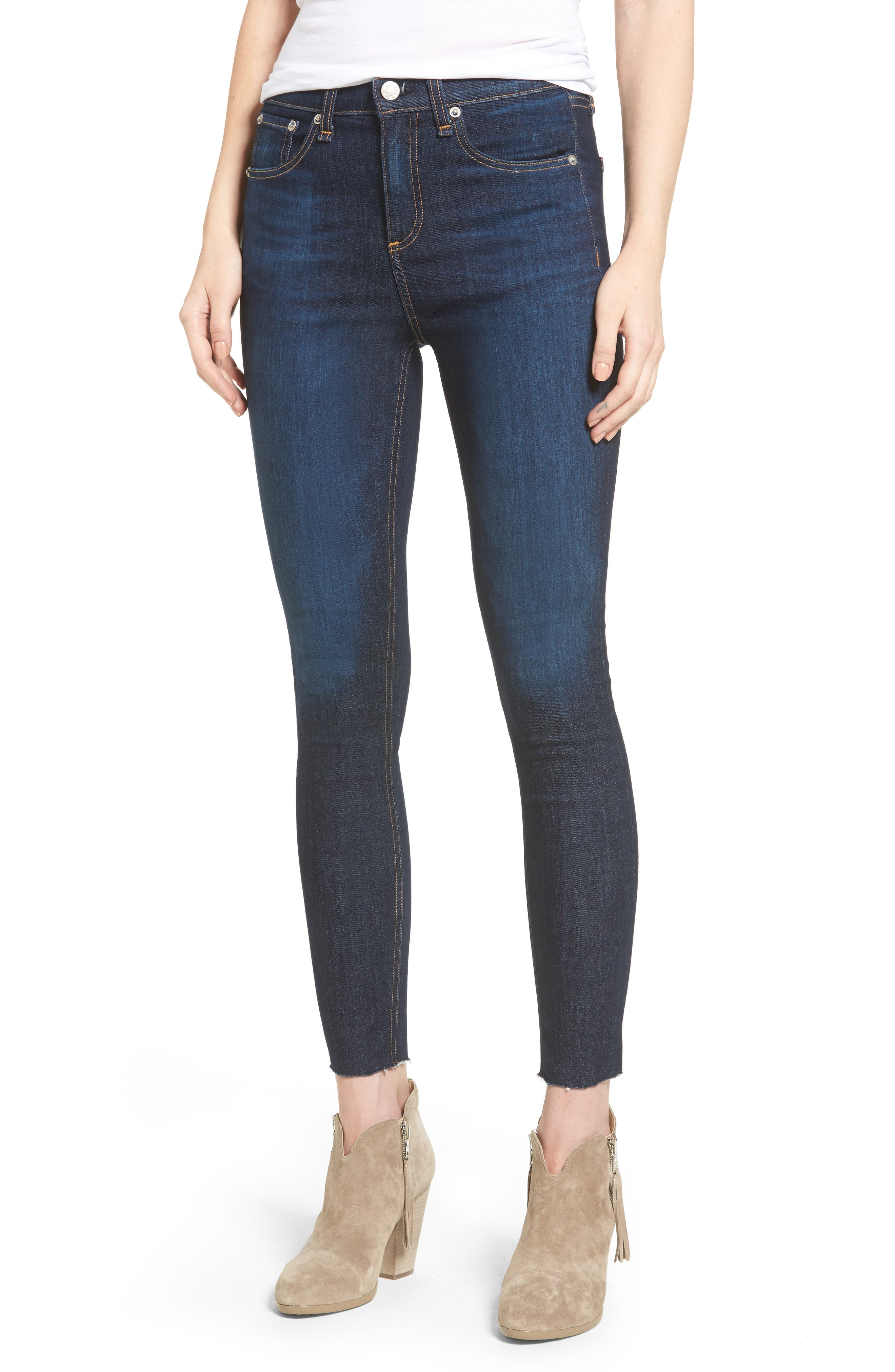 rag & bone/JEAN High Waist Skinny Ankle Jeans (Mad River)