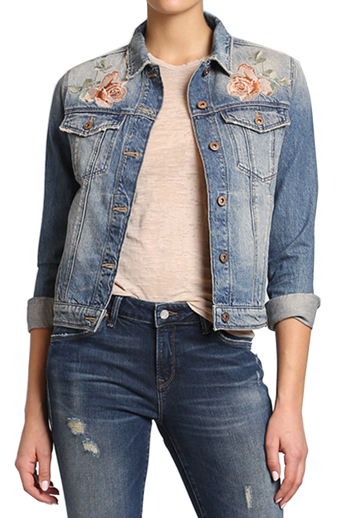 Mavi Katy Rose Embroidered Denim Jacket