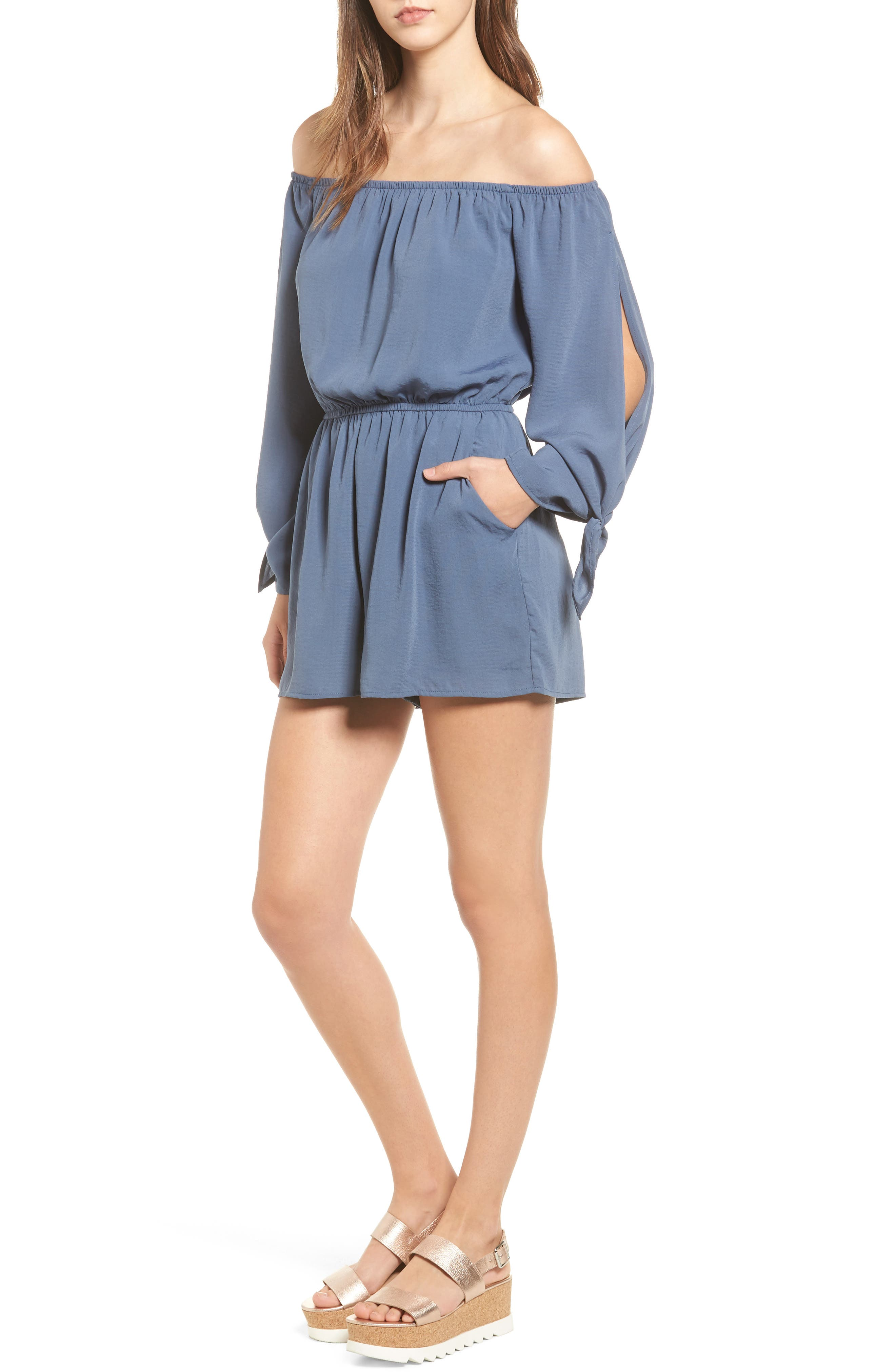 One Clothing Split Sleeve Satin Romper