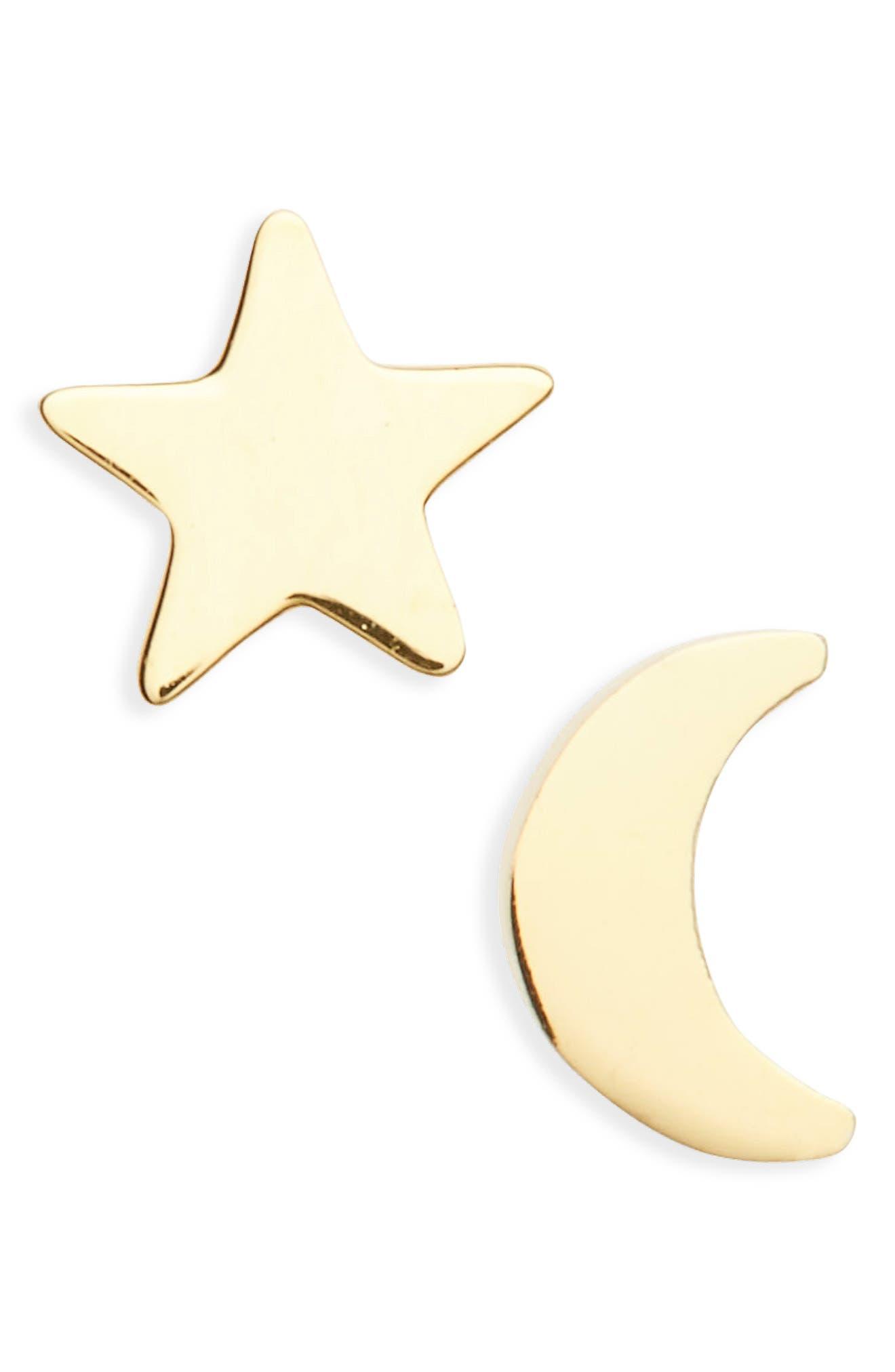 Seoul Little Moon & Star Stud Earrings