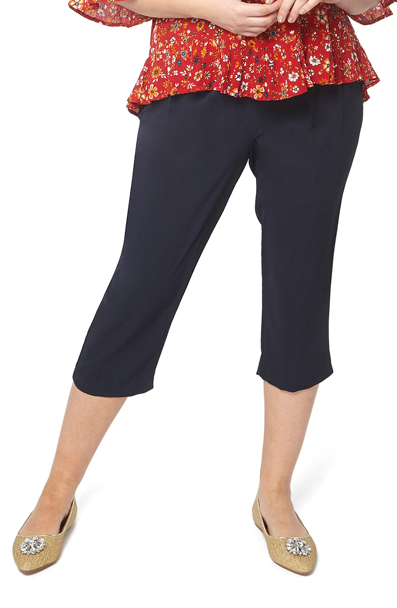 Evans Tie Belt Crop Pants (Plus Size)