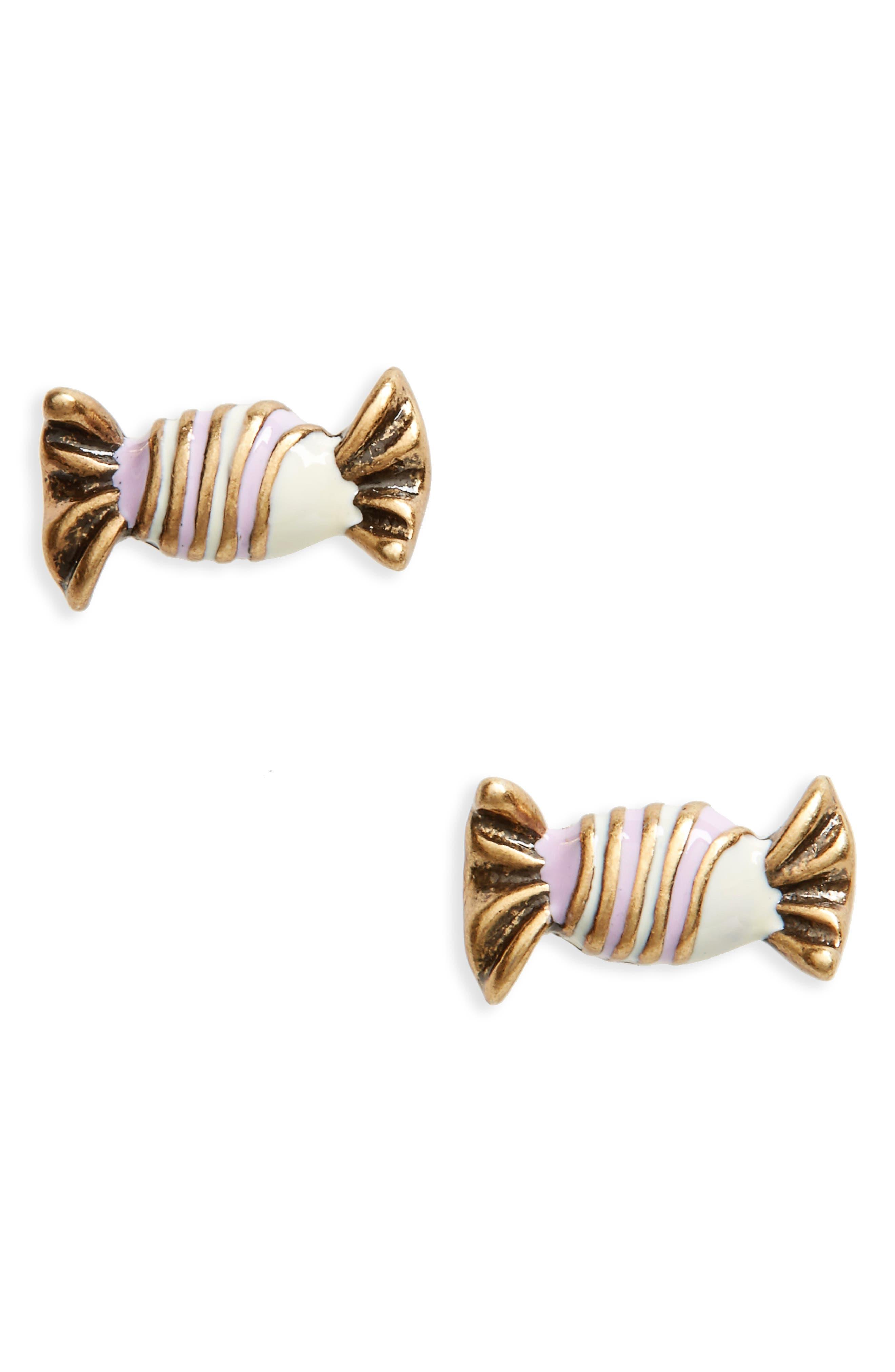 MARC JACOBS Striped Enamel Stud Earrings