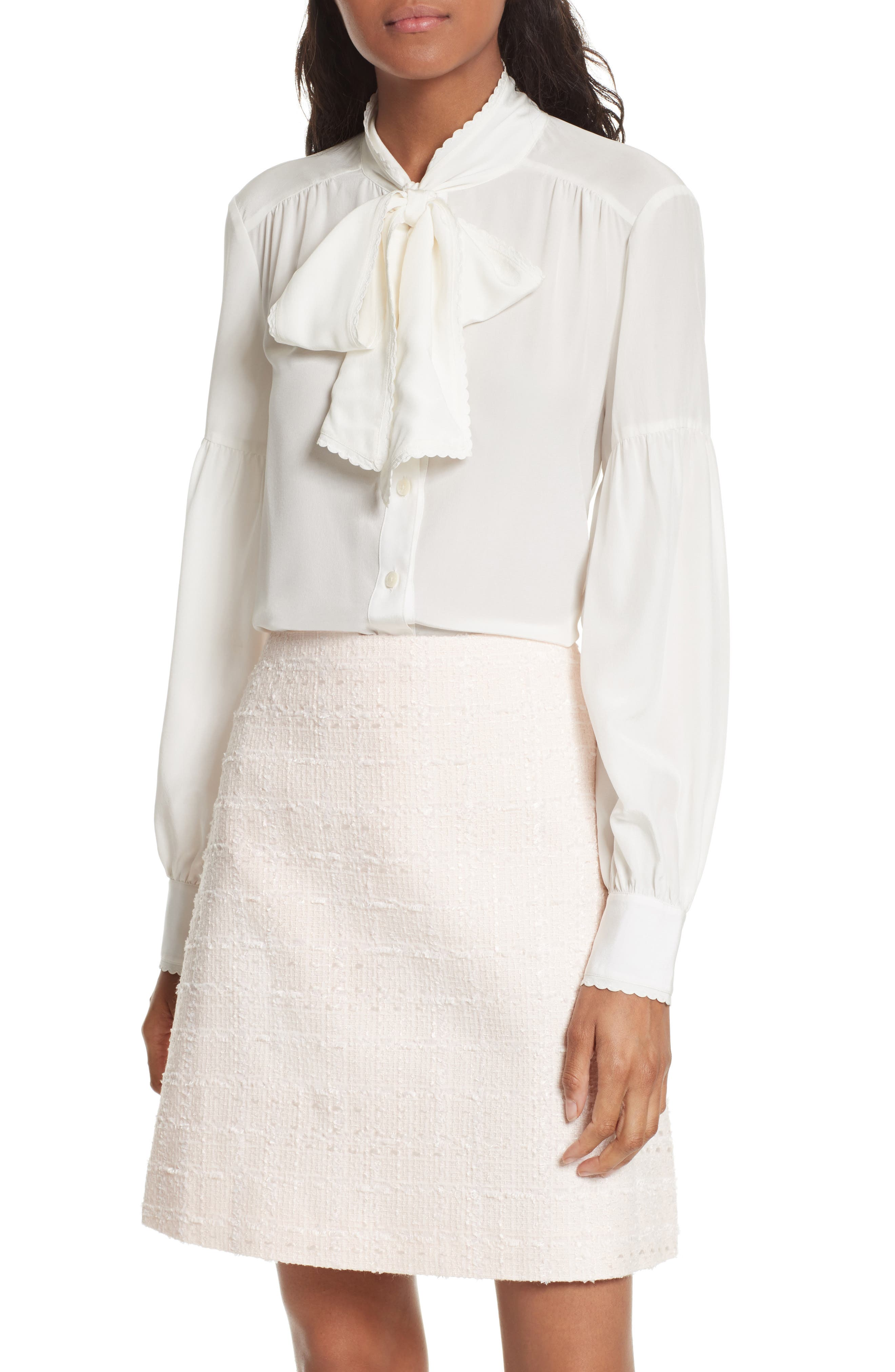 kate spade new york myrah tie neck silk blouse
