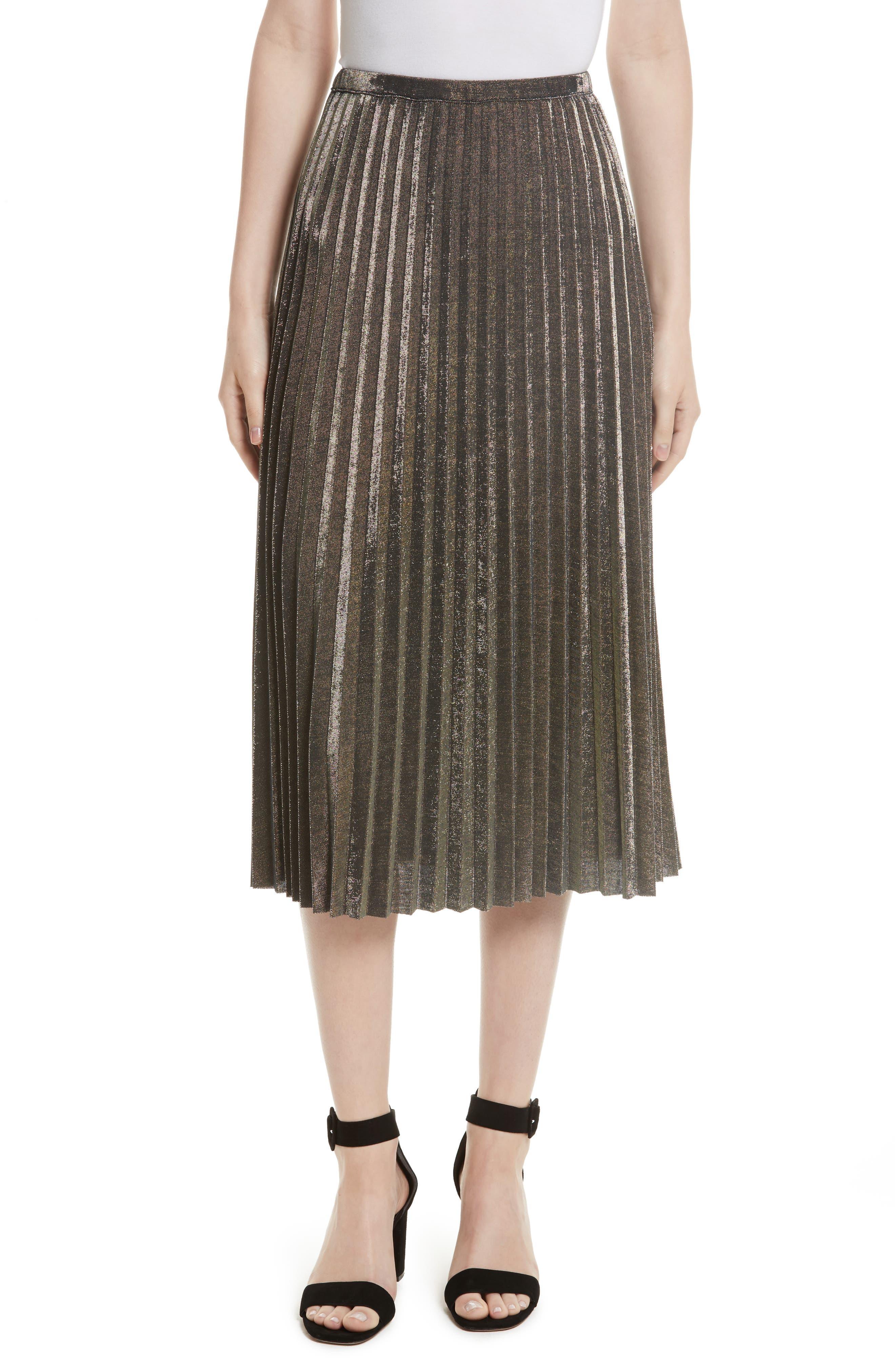 Tracy Reese Metallic Pleated Skirt