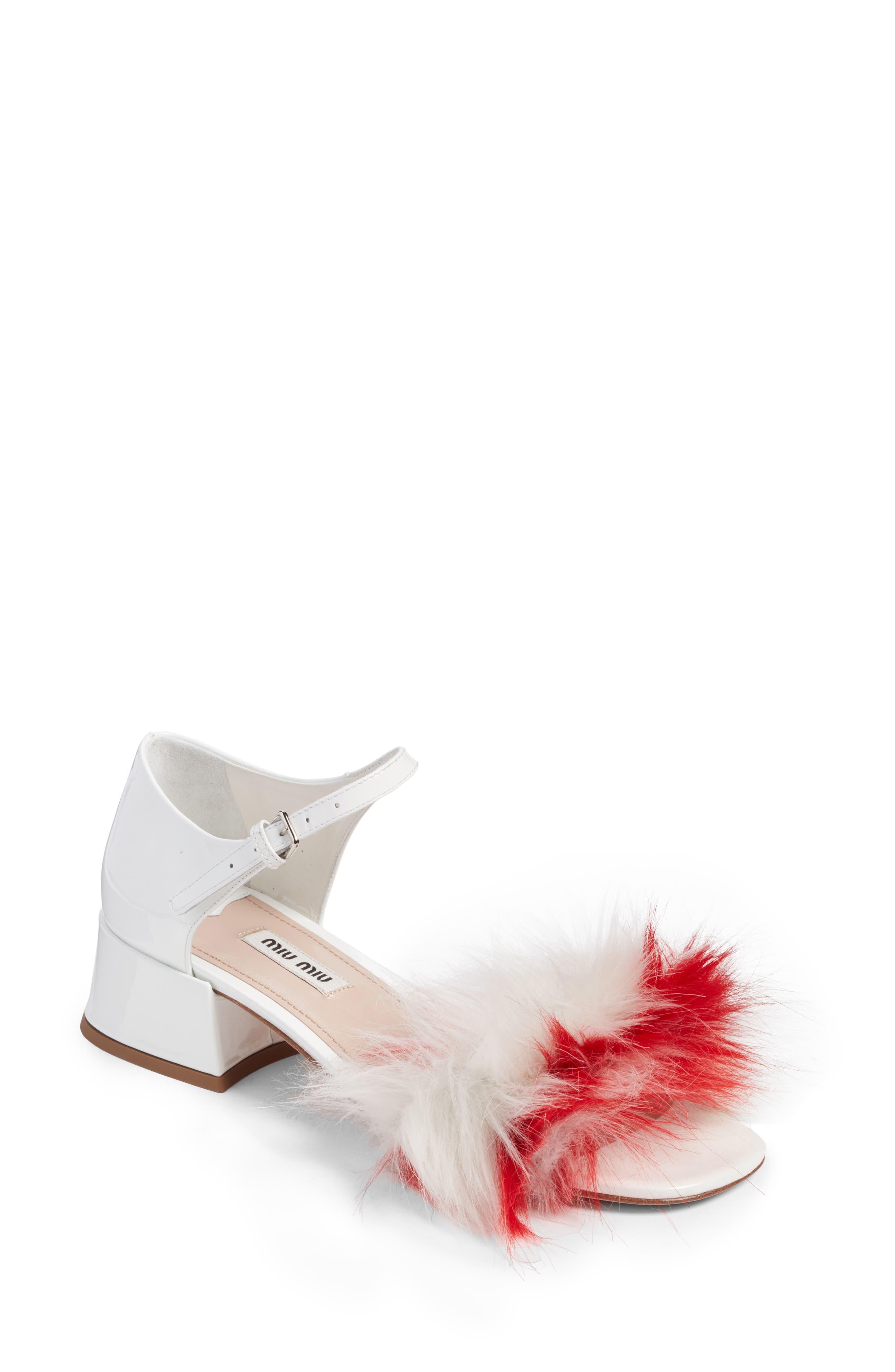 Miu Miu Faux Fur Sandal (Women)