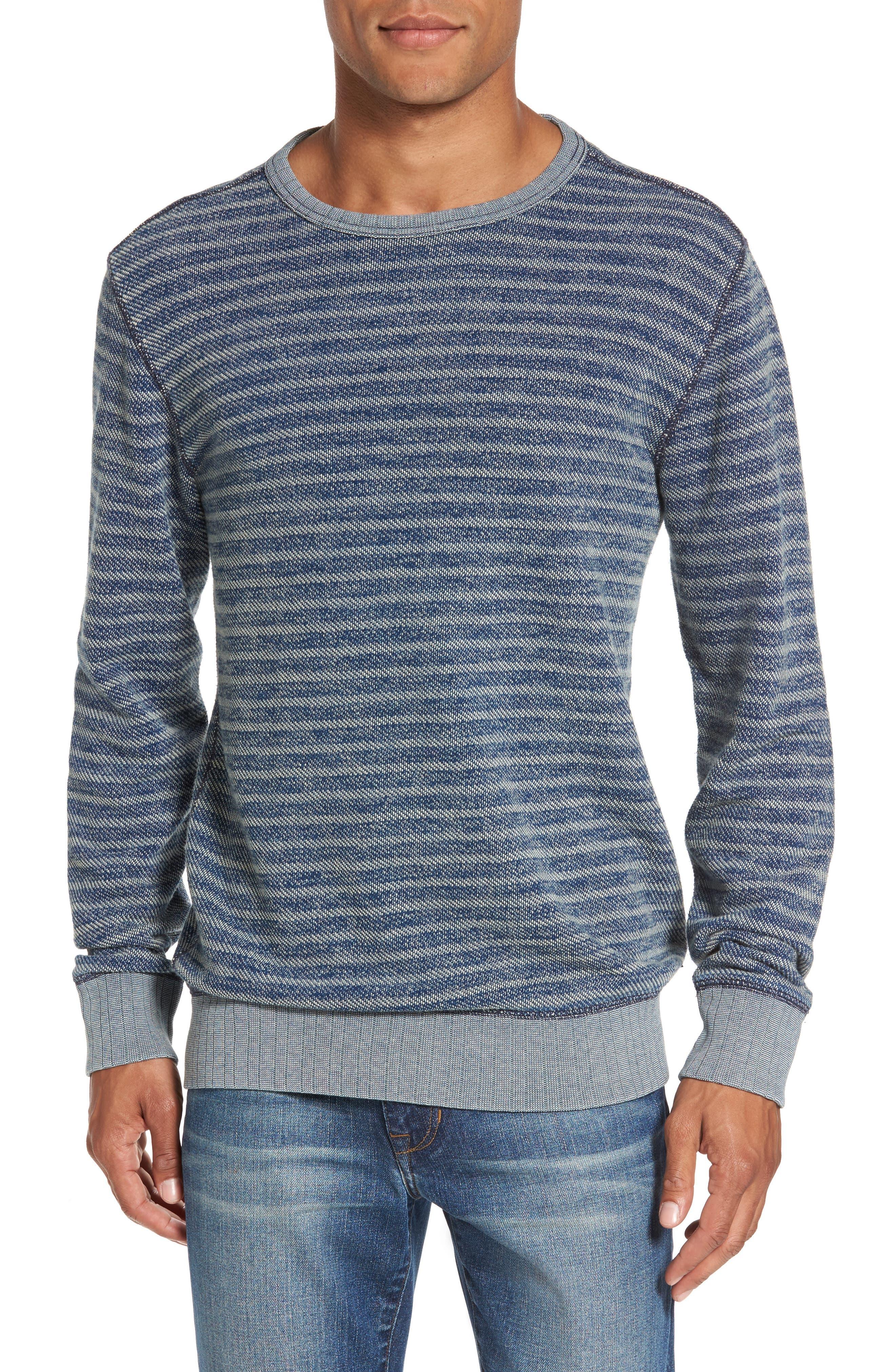 Faherty Brand Stripe Crewneck Sweatshirt