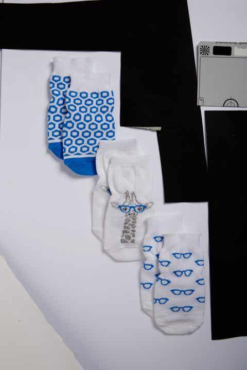 Robeez® Nerdy Giraffe 3-Pack Socks (Baby, Walker   Toddler)