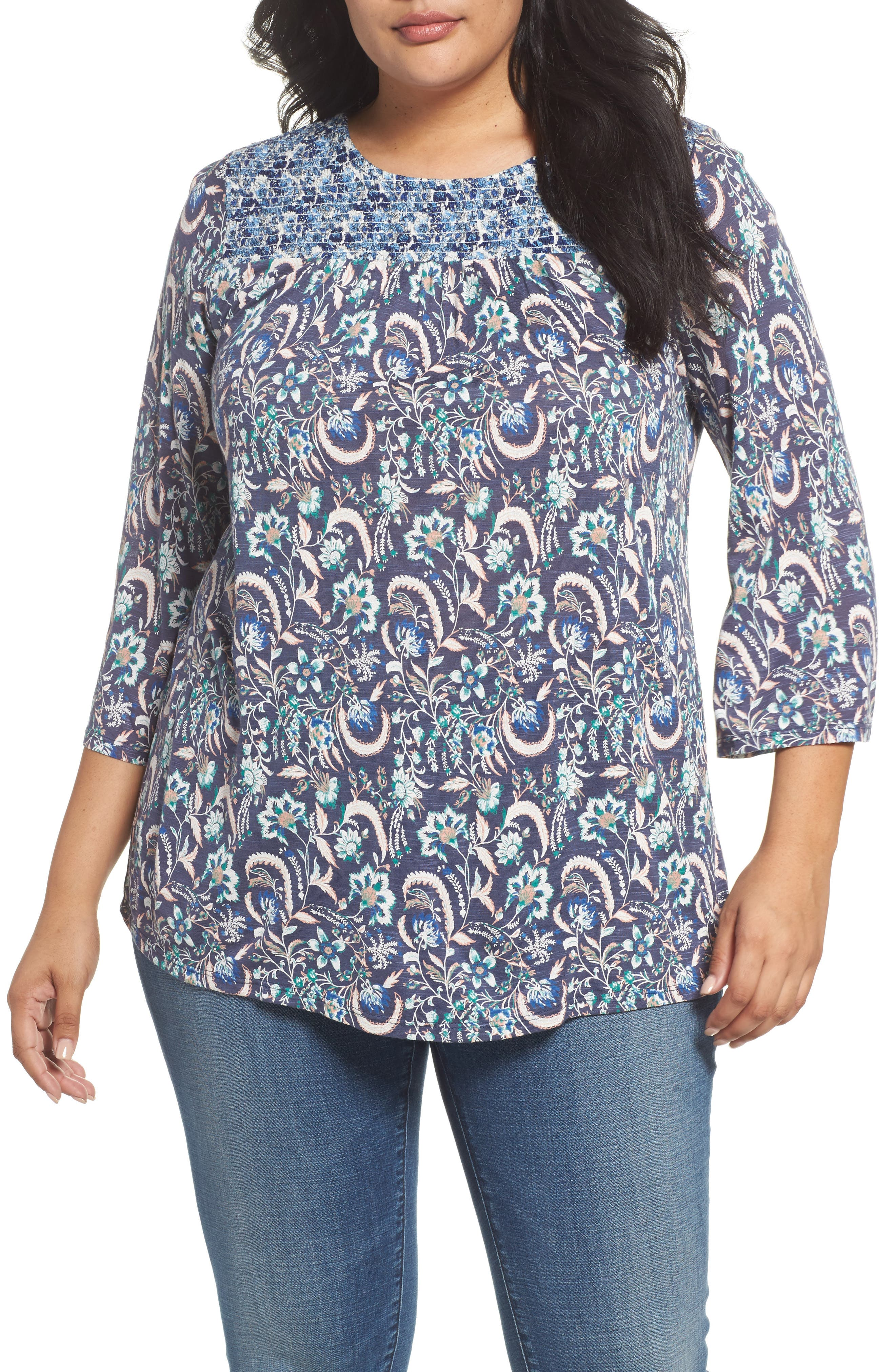 Lucky Brand Smocked Mix Print Top (Plus Size)