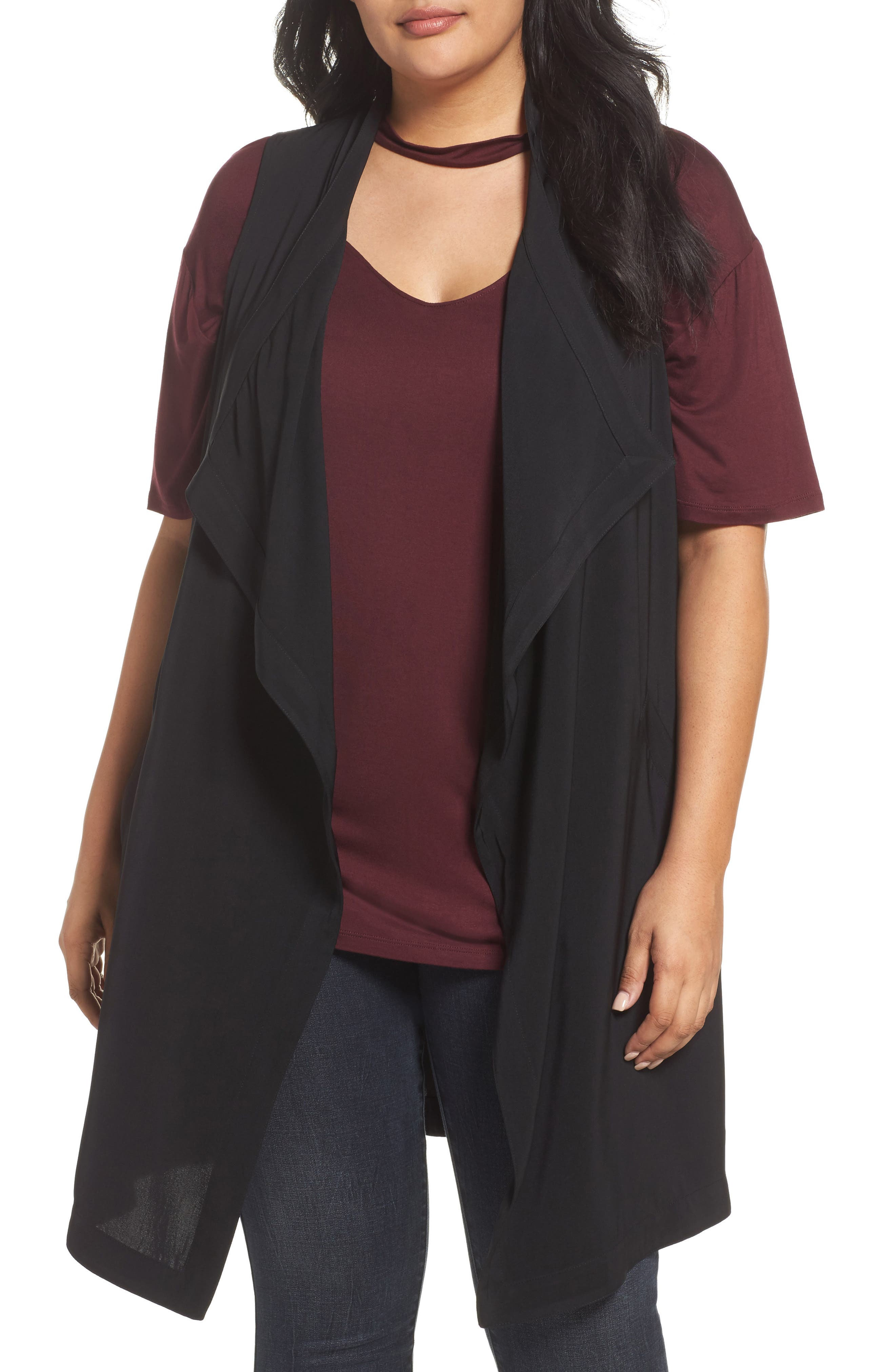 REBEL WILSON X ANGELS Drape Front Vest (Plus Size)