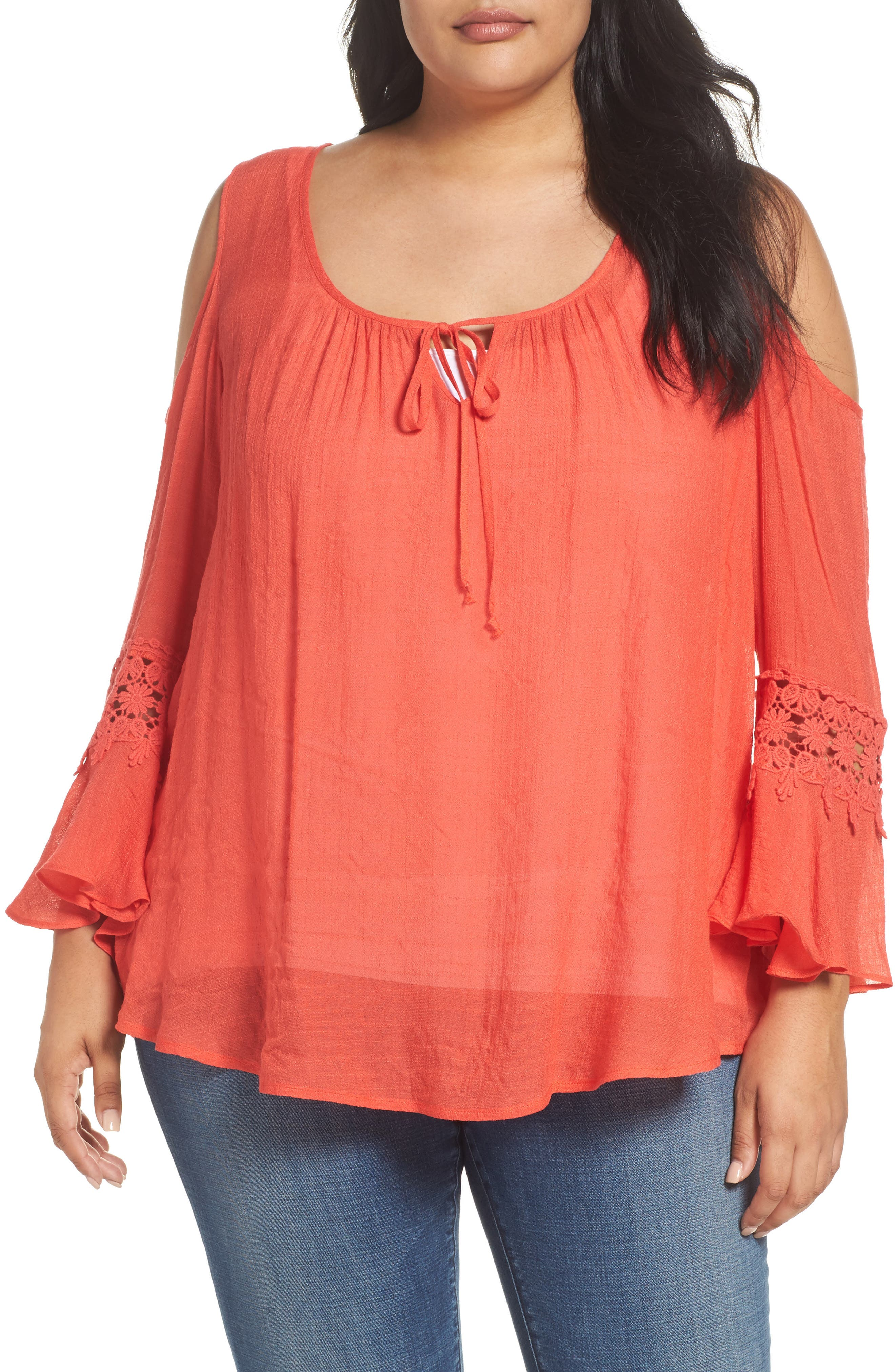 Bobeau Cold Shoulder Blouse (Plus Size)