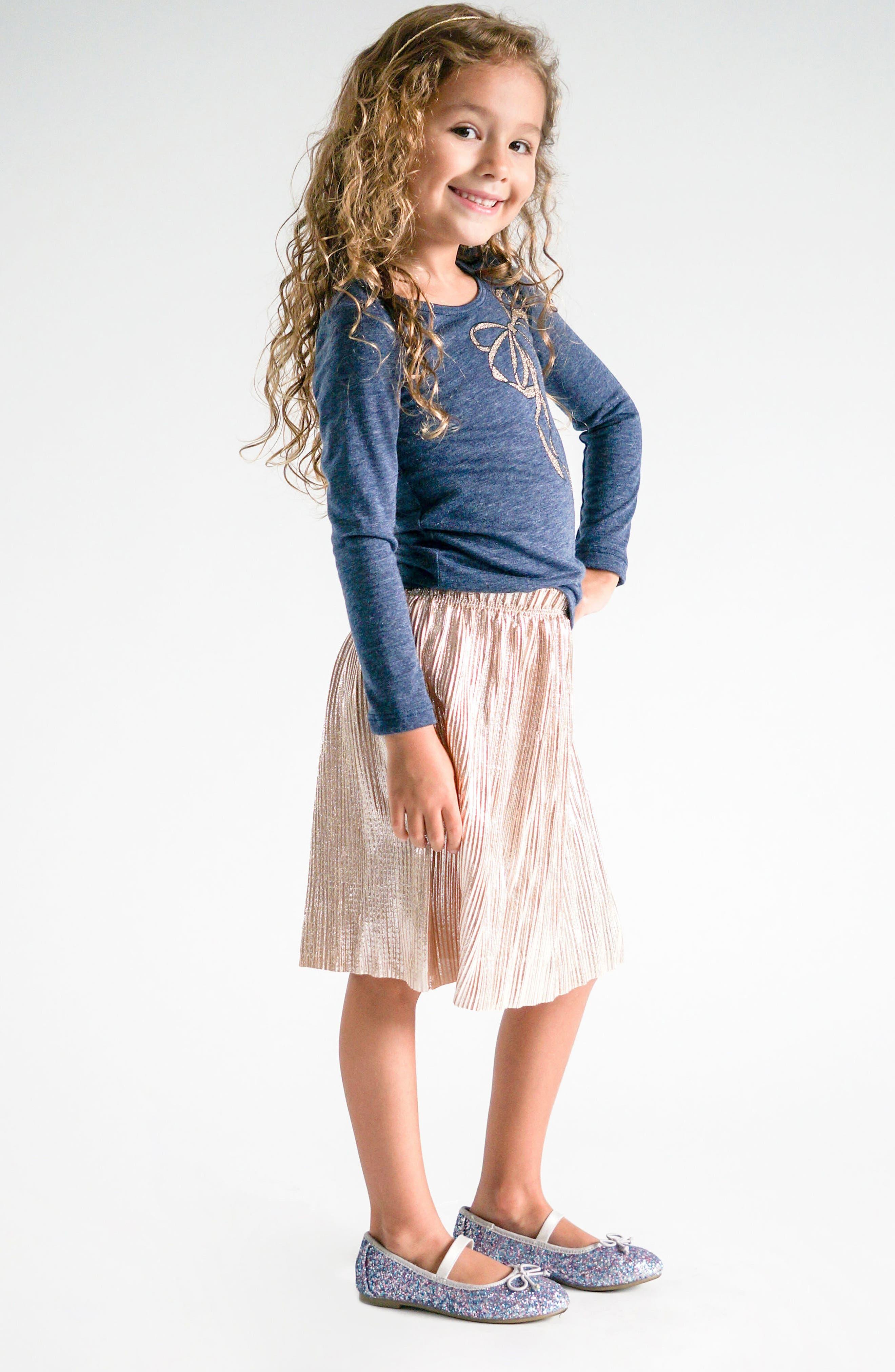 Alternate Image 2  - Truly Me Metallic Pleated Skirt (Toddler Girls & Little Girls)