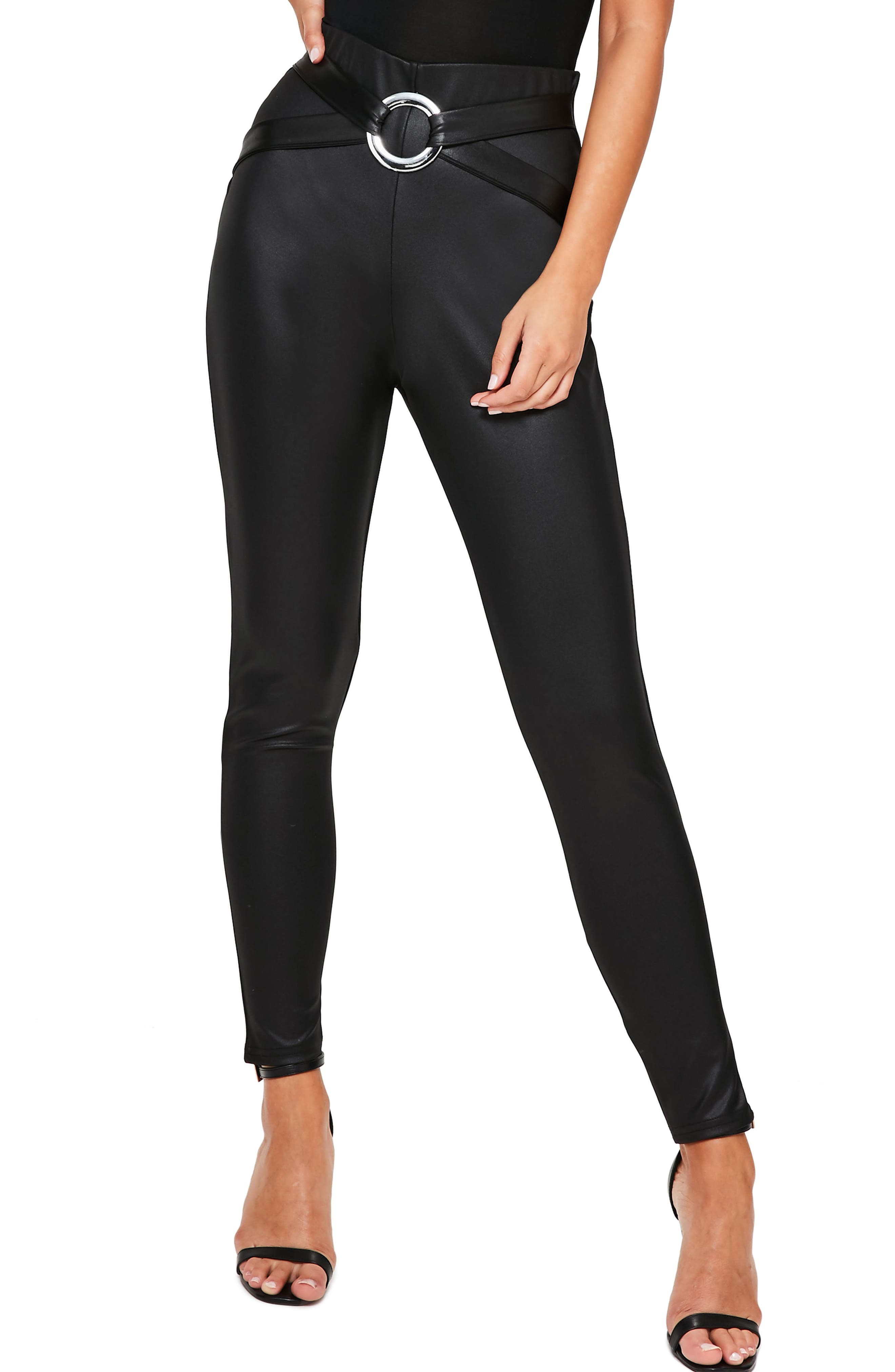 Missguided Harness Detail Faux Leather Leggings