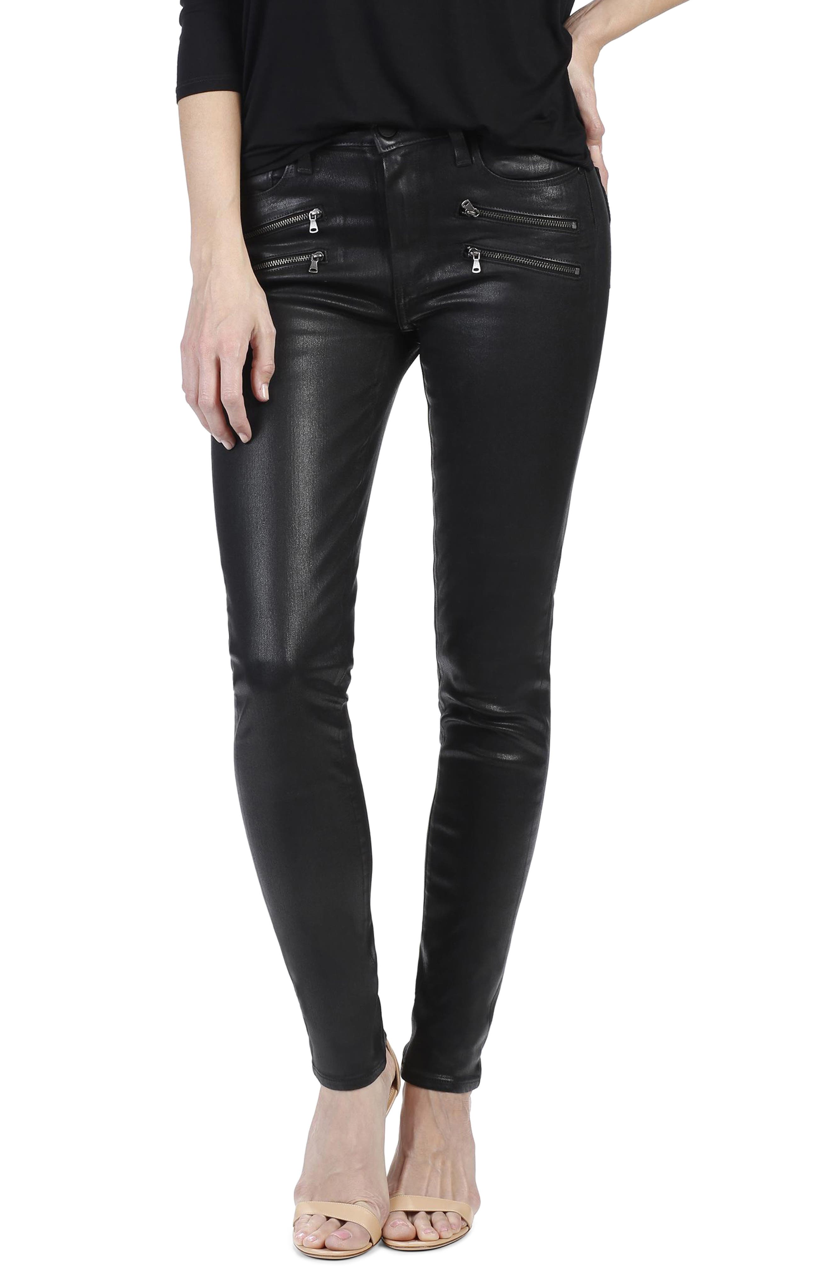 PAIGE Edgemont Zip Coated High Waist Ultra Skinny Jeans