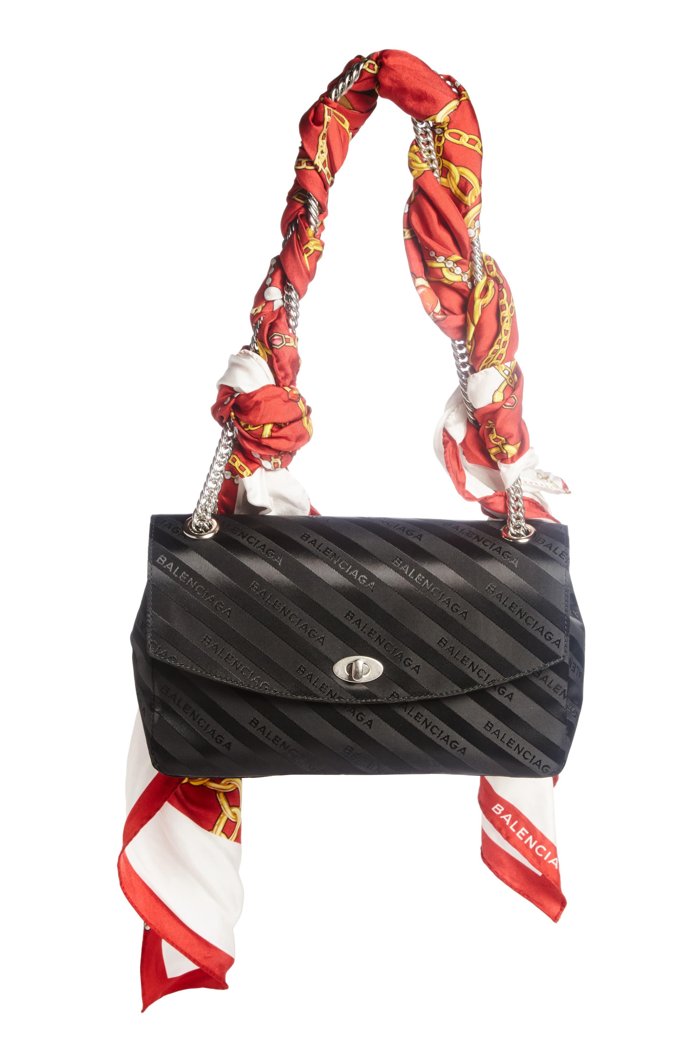 Balenciaga Medium Lock Round Logo Shoulder Bag with Silk Scarf