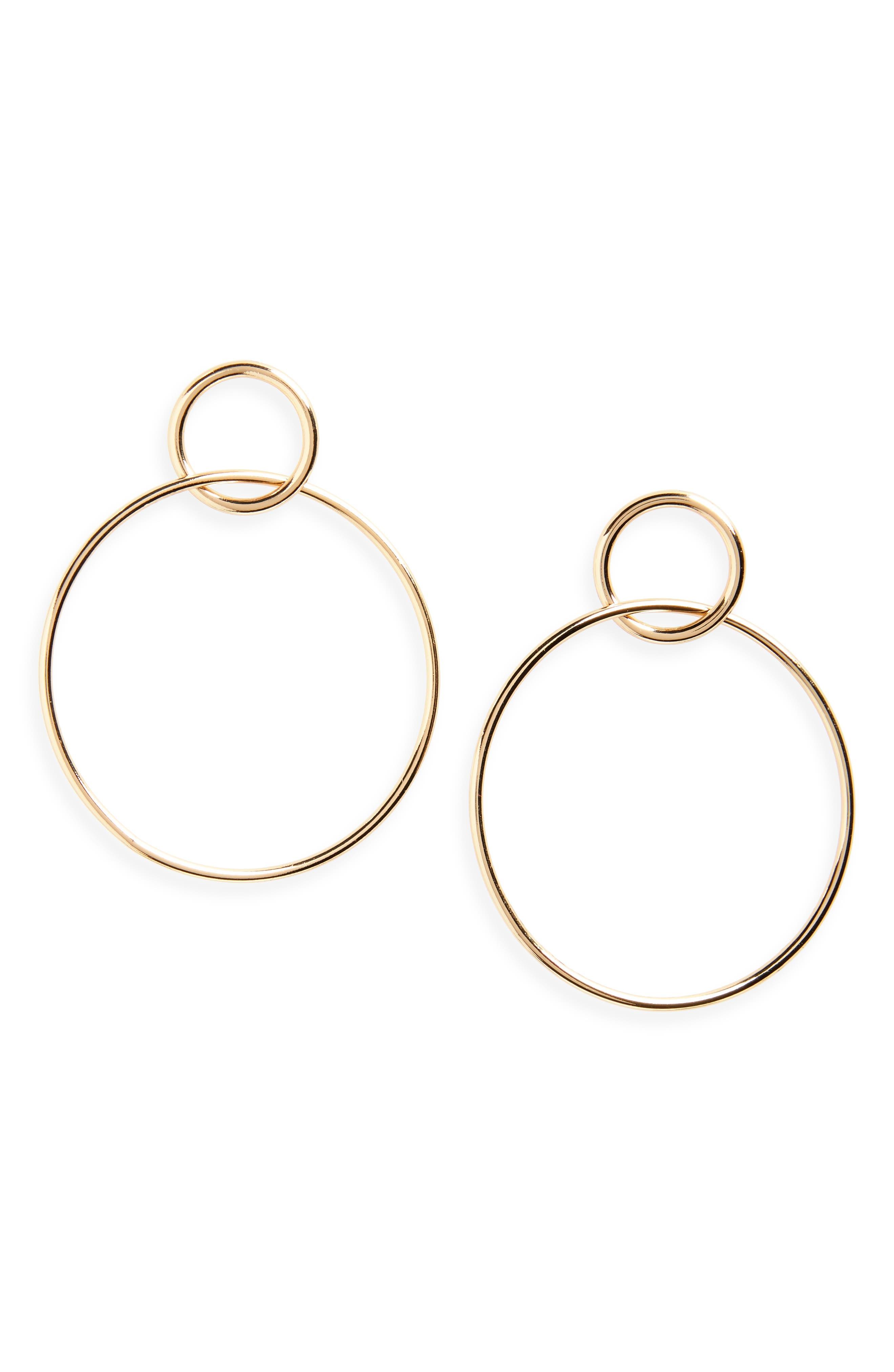 Halogen Double Circle Drop Earrings