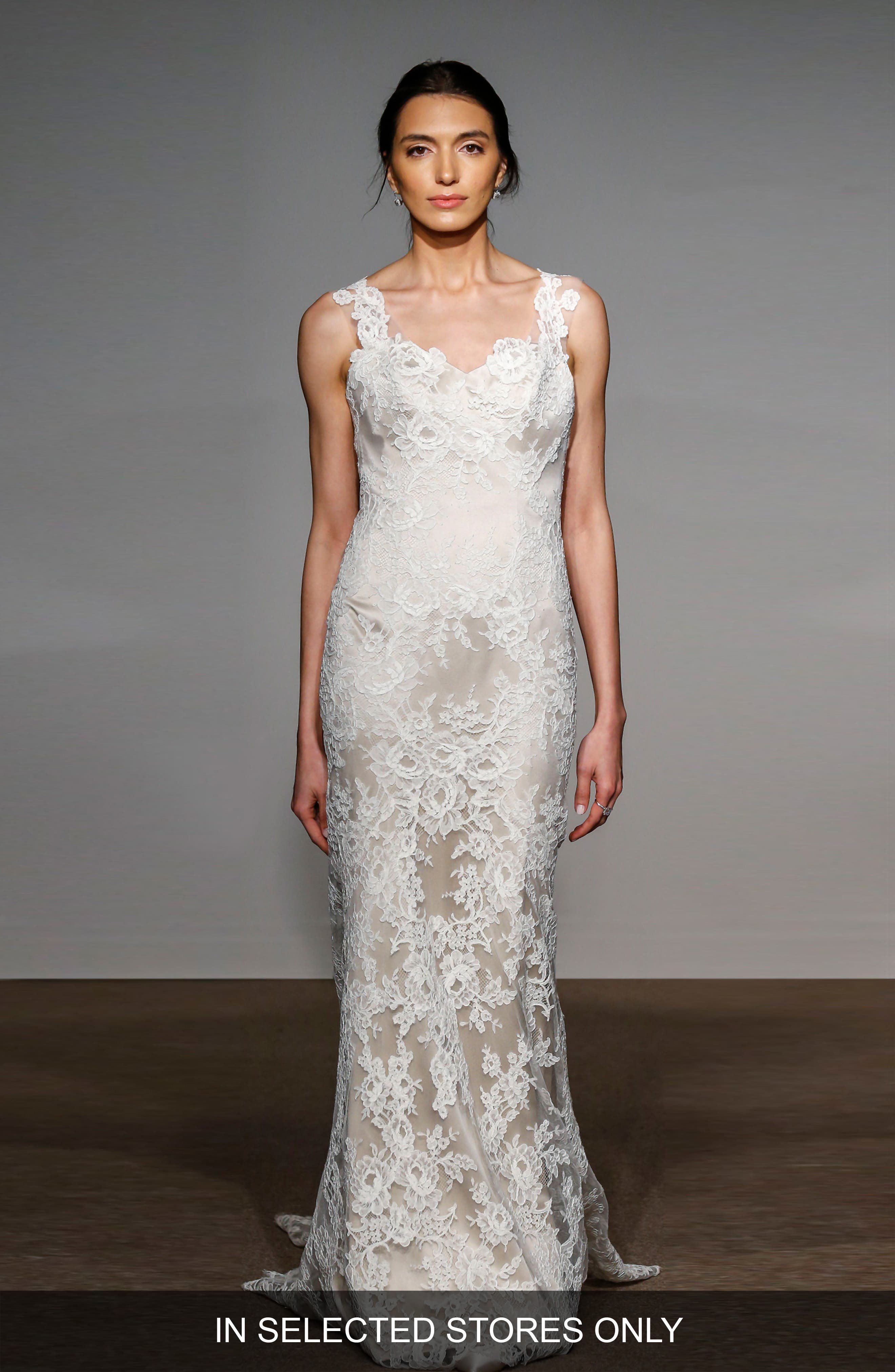 Anna Maier Couture Ashley Sleeveless Silk & French Lace Gown (In Selected Stores Only)