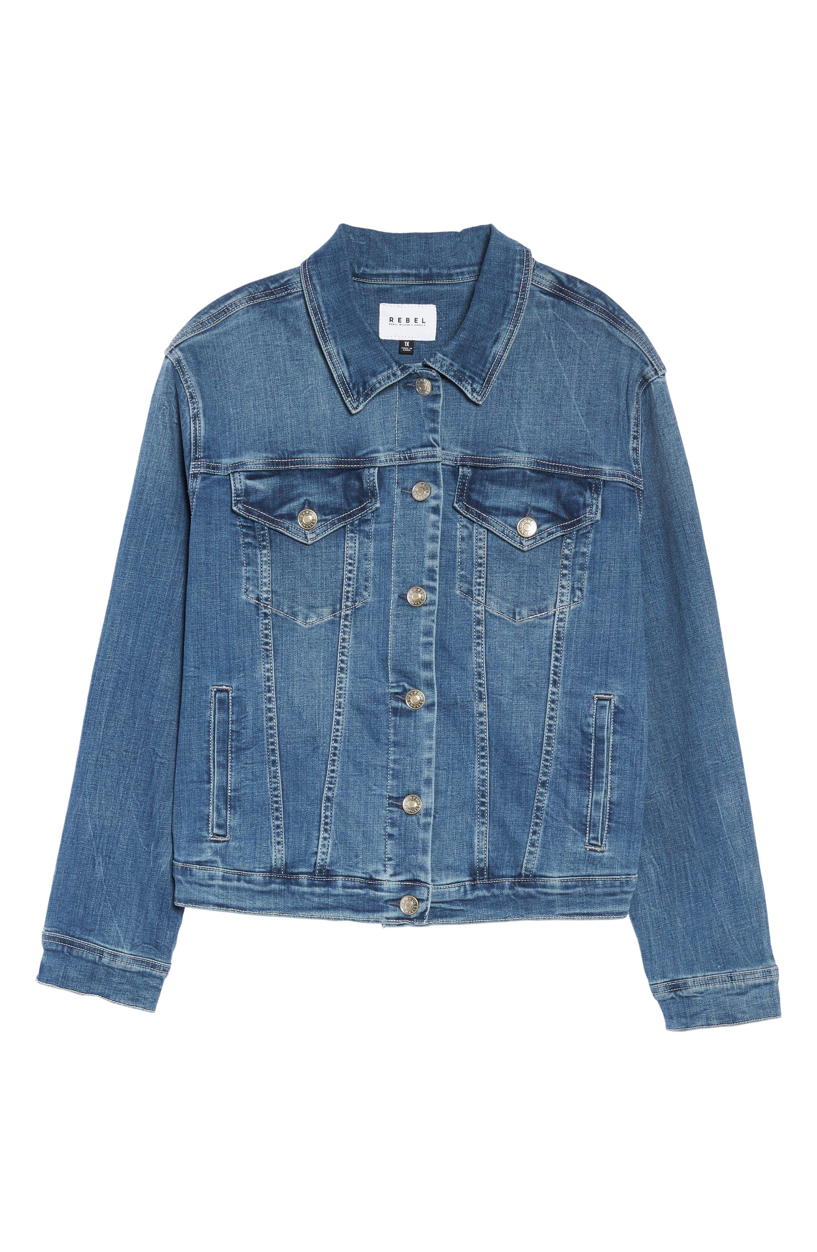 Alternate Image 7  - REBEL WILSON X ANGELS Just Fan Me Denim Jacket (Plus Size)