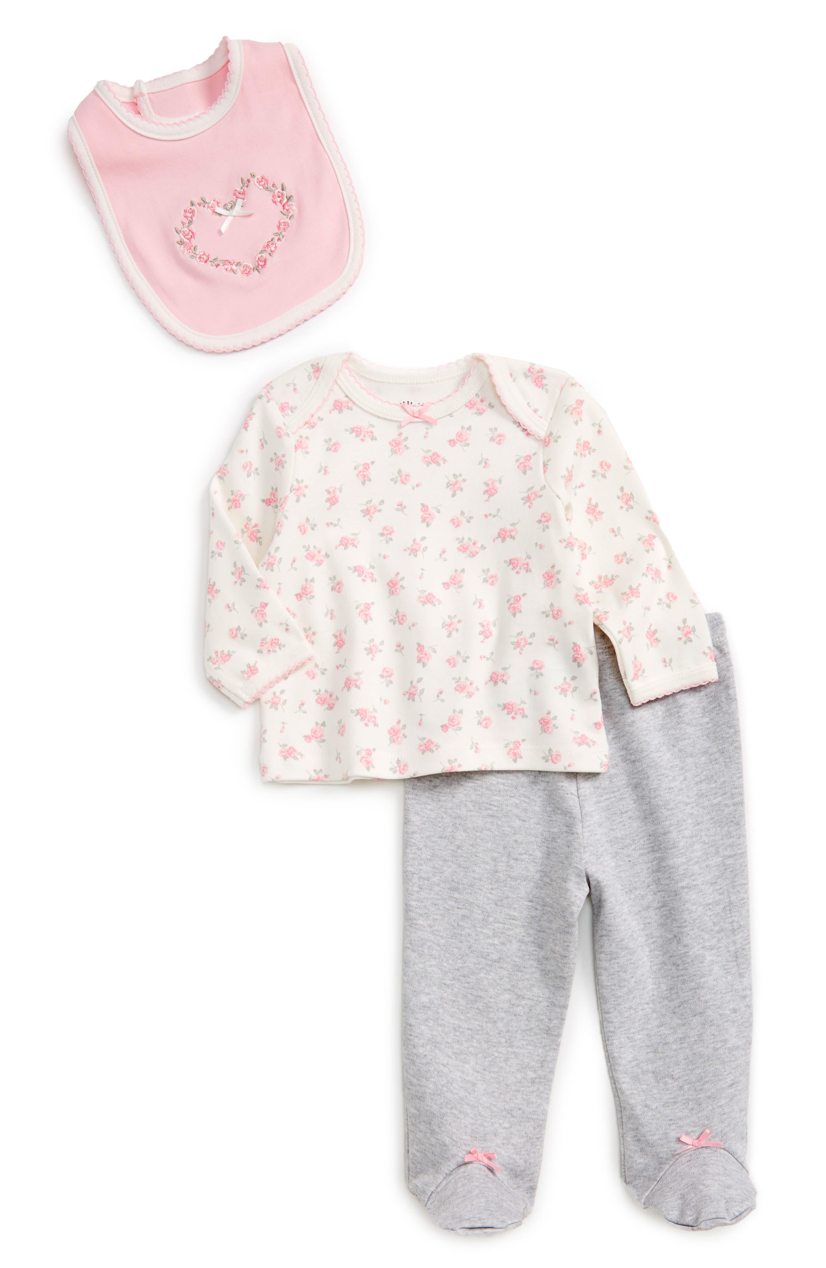 Little Me Rose Tee, Footed Leggings & Bib Set (Baby Girls)