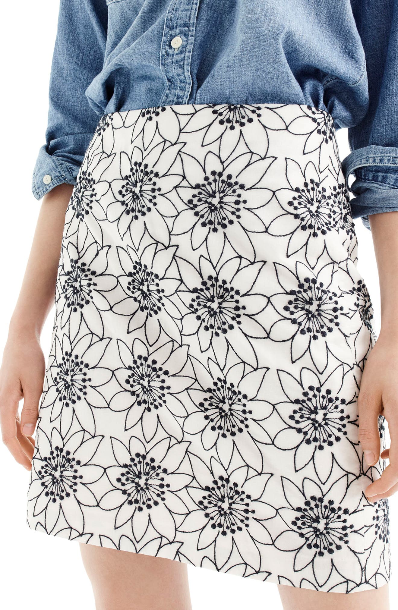 J.Crew Embroidered Floral Miniskirt (Regular & Petite)