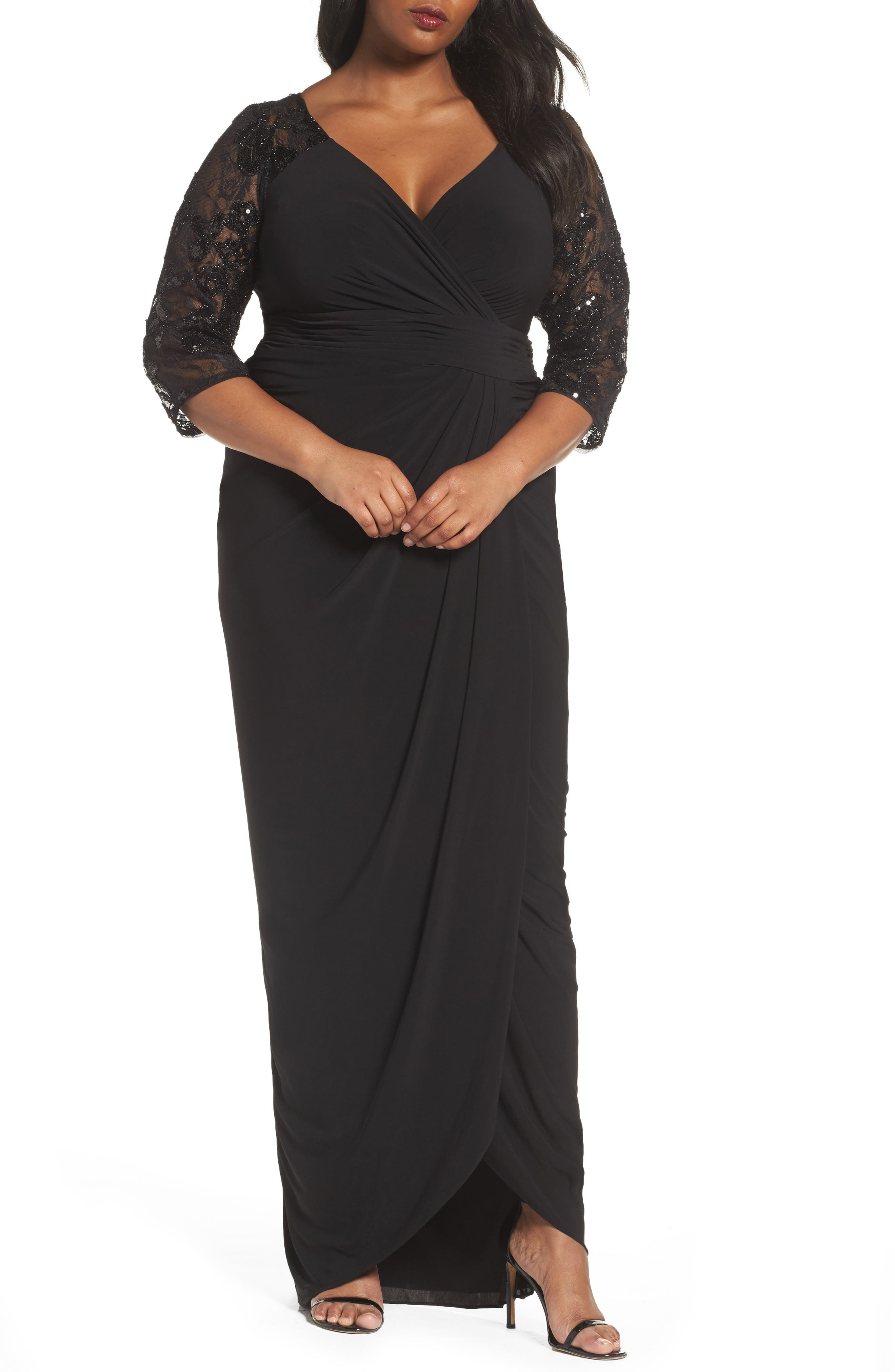 Adrianna Papell Illusion Lace V-Neck Gown (Plus Size)