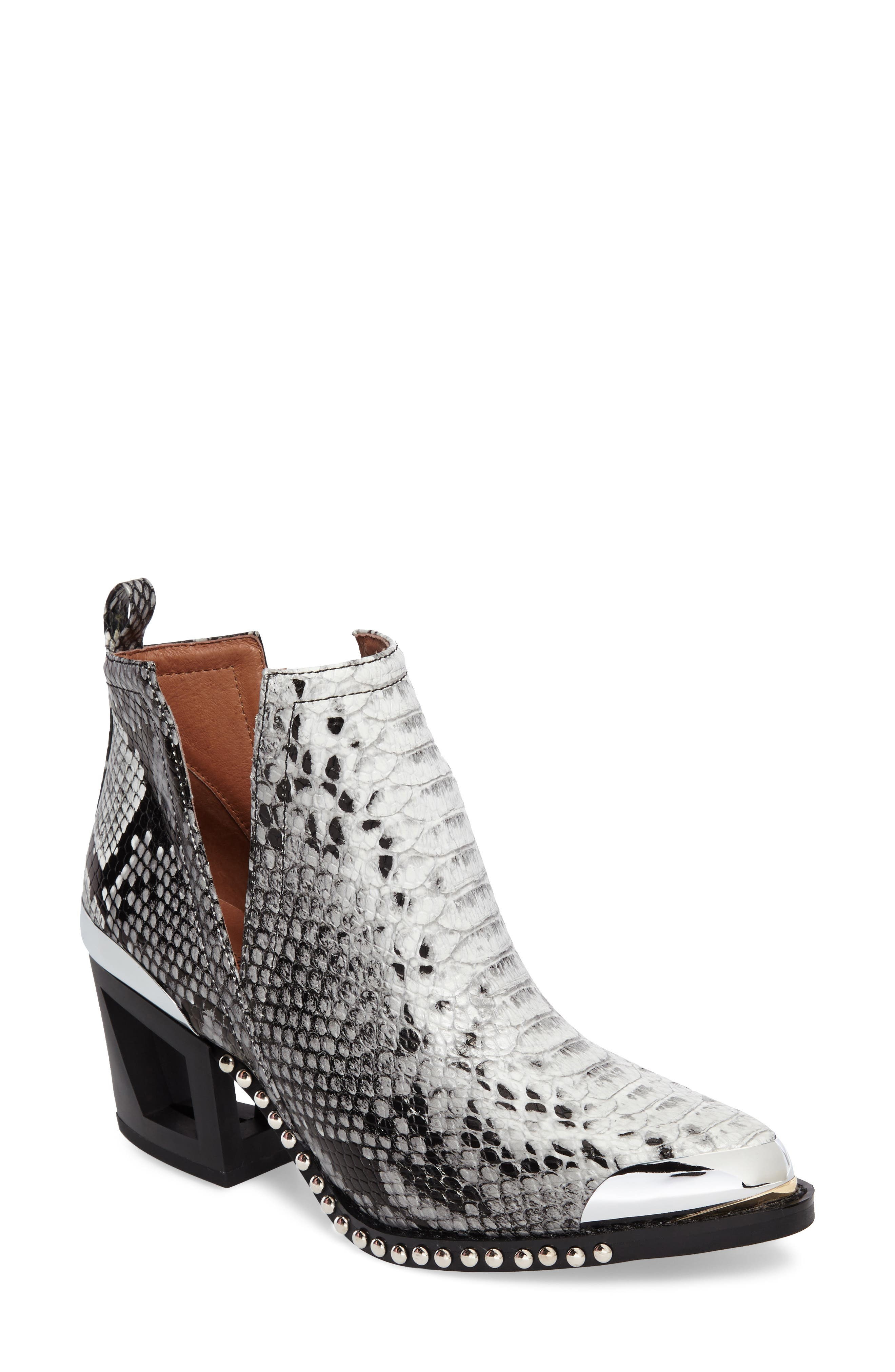 Jeffrey Campbell Optimum Studded Snake Textured Bootie (Women)
