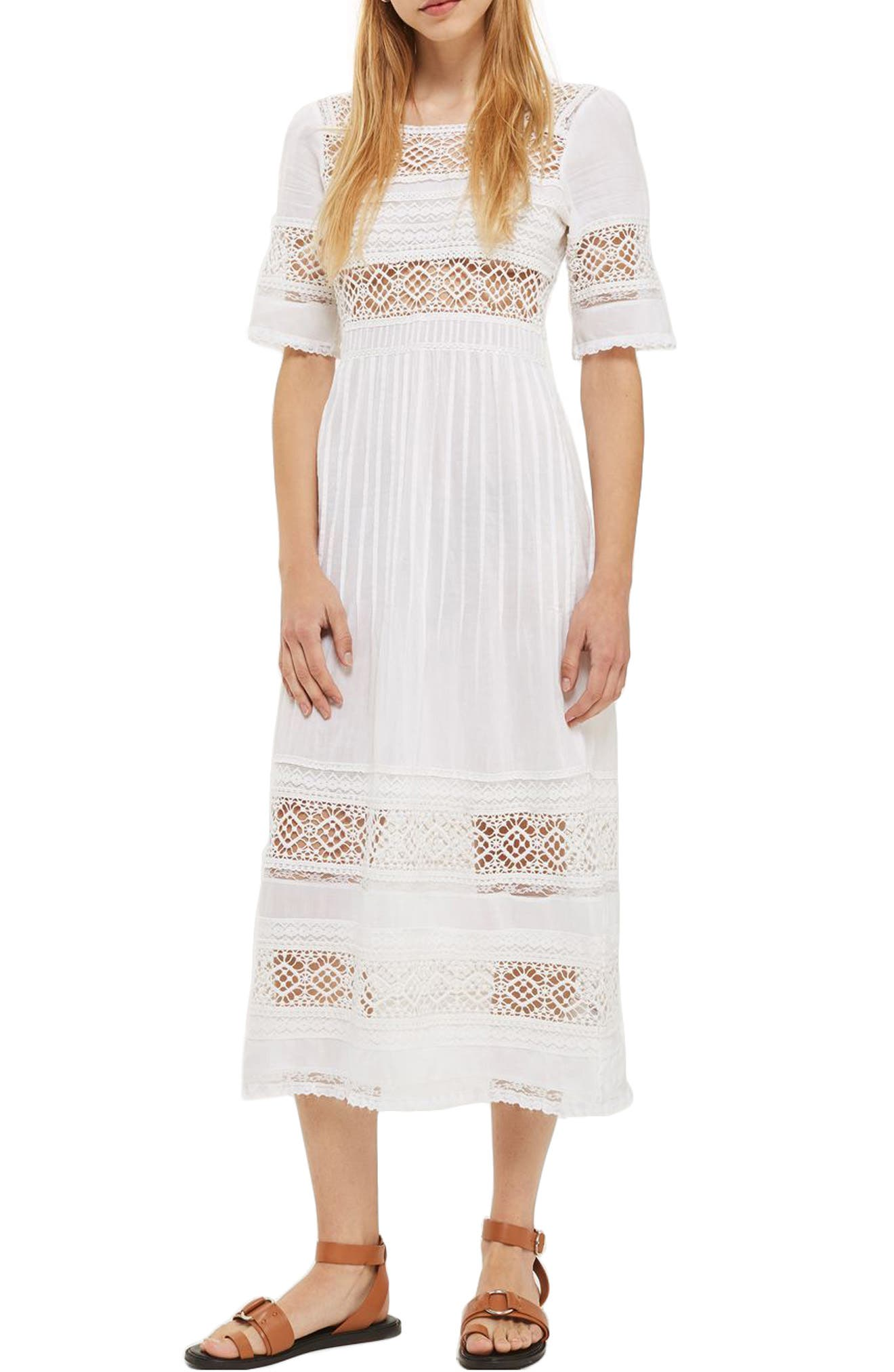 Topshop Pixie Broderie Midi Dress