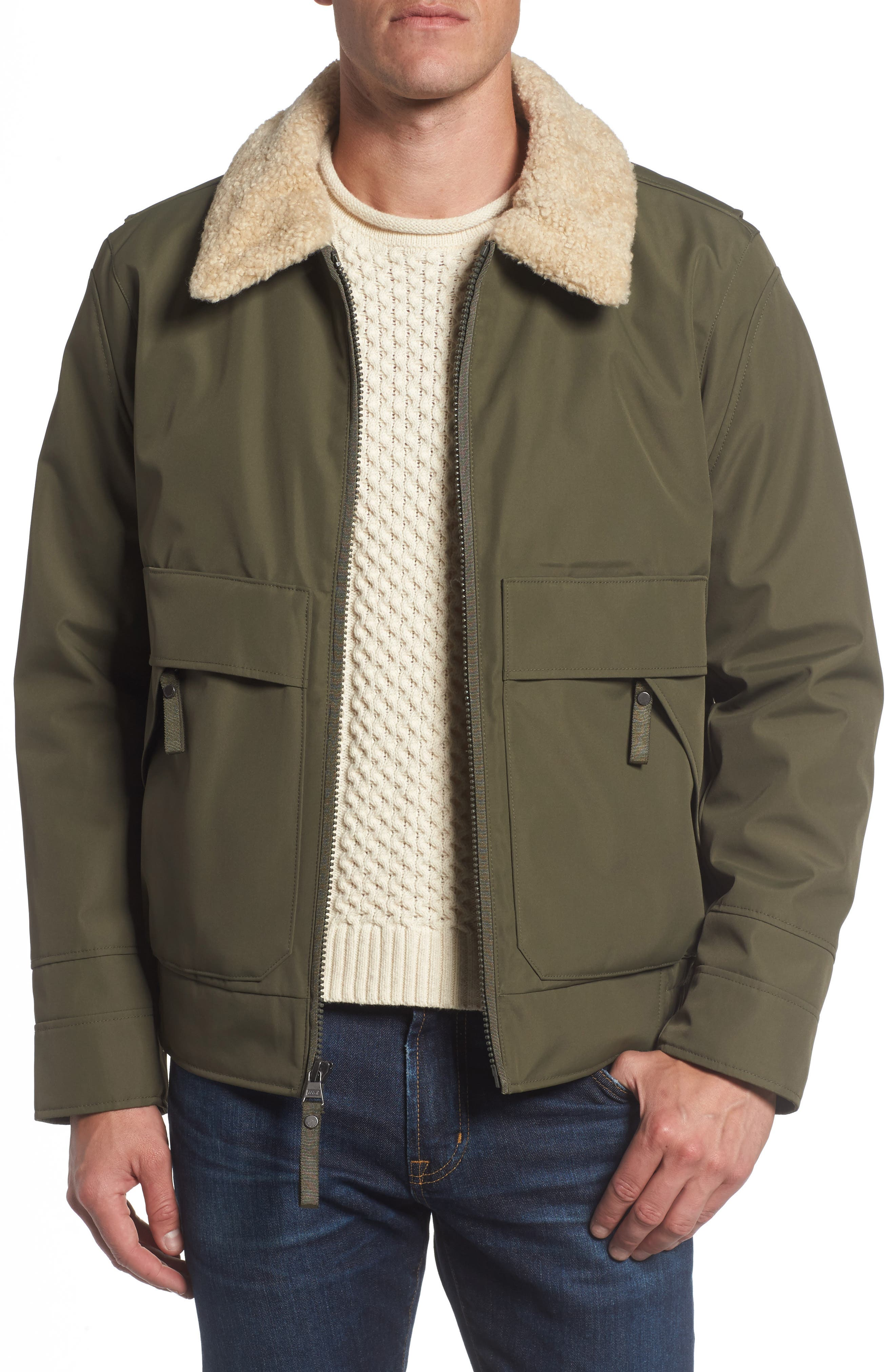 Andrew Marc Porter Faux Shearling Collar Aviator Jacket