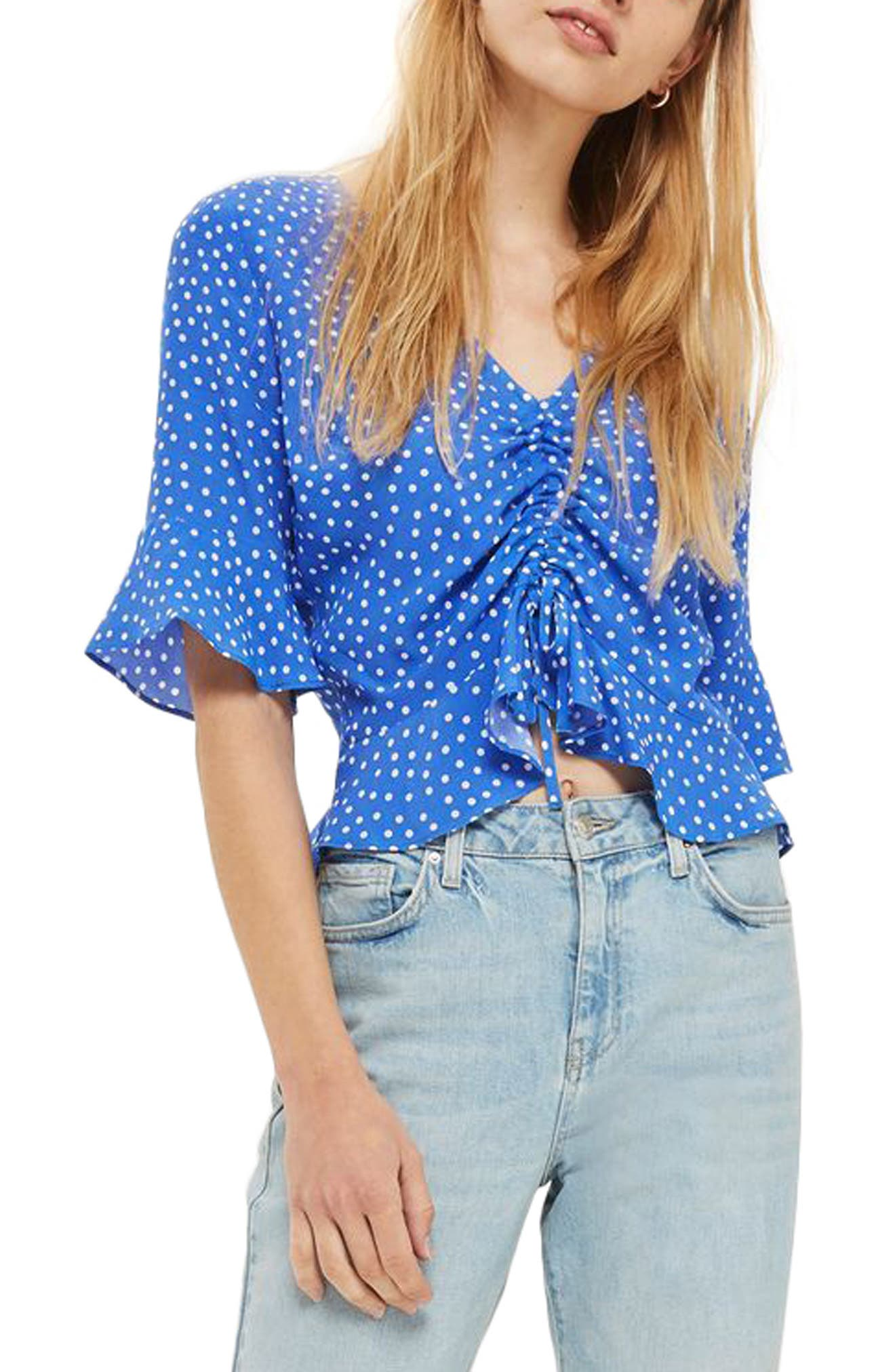 Topshop Ruby Polka Dot Ruched Front Top