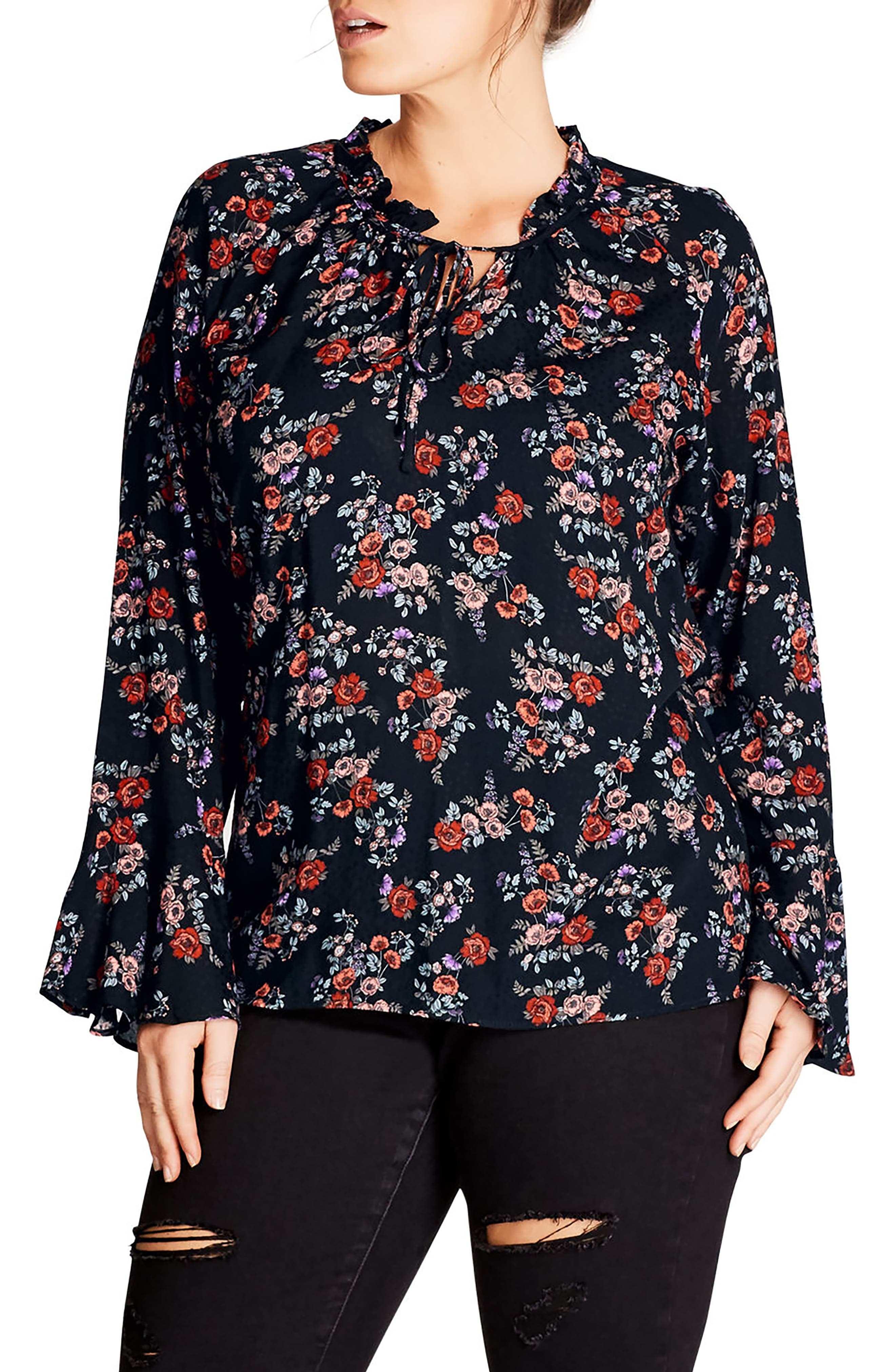 City Chic Flower Ruffle Top (Plus Size)