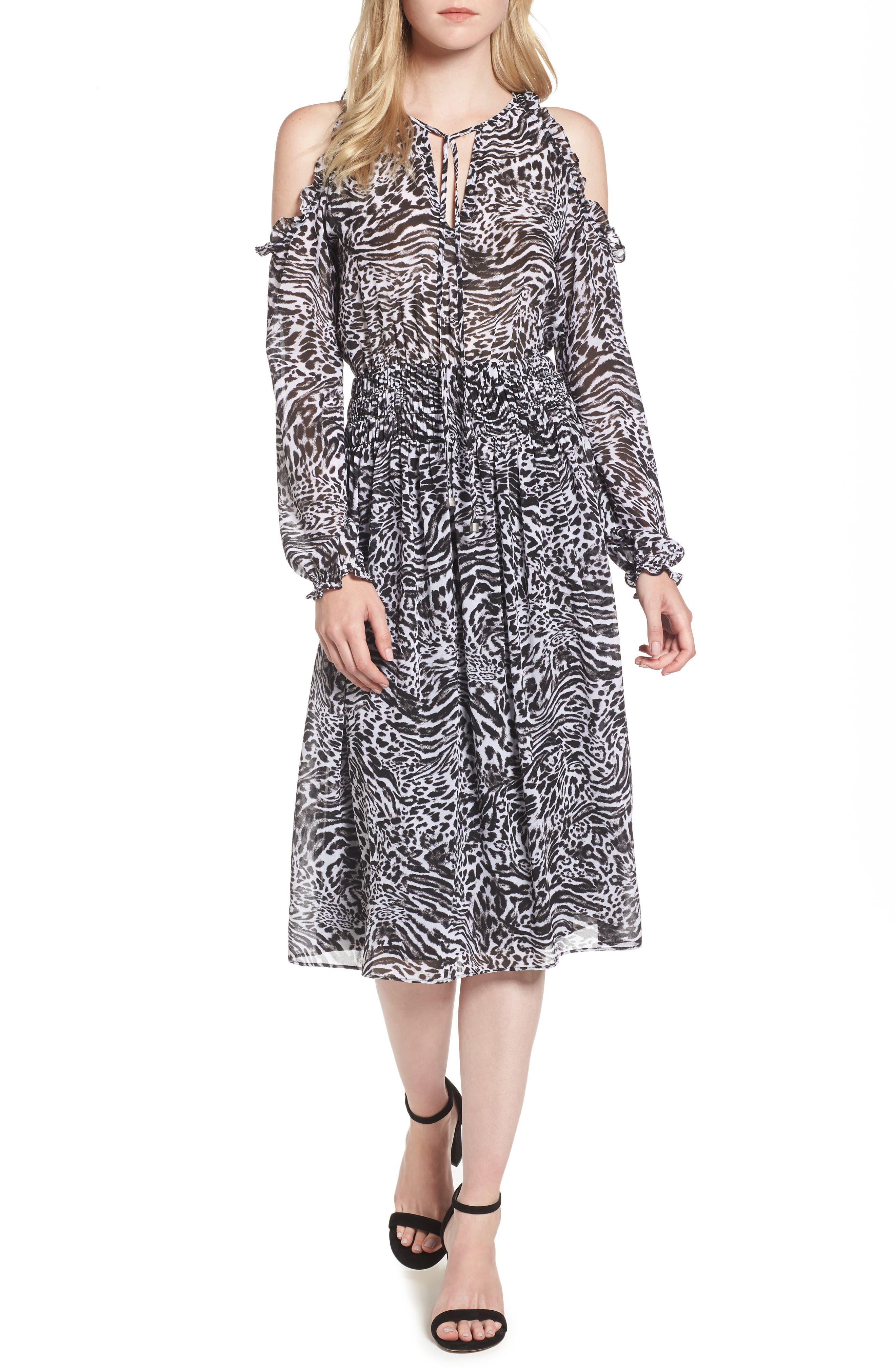 MICHAEL Michael Kors Big Cat Print Cold Shoulder Dress