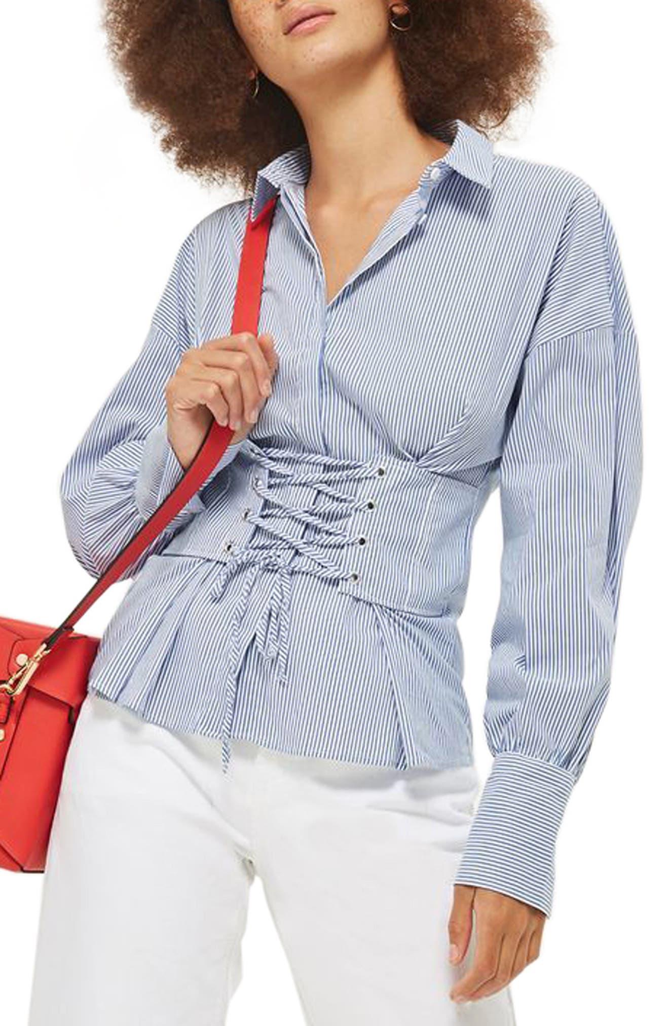 Topshop Ultimate Stripe Corset Shirt
