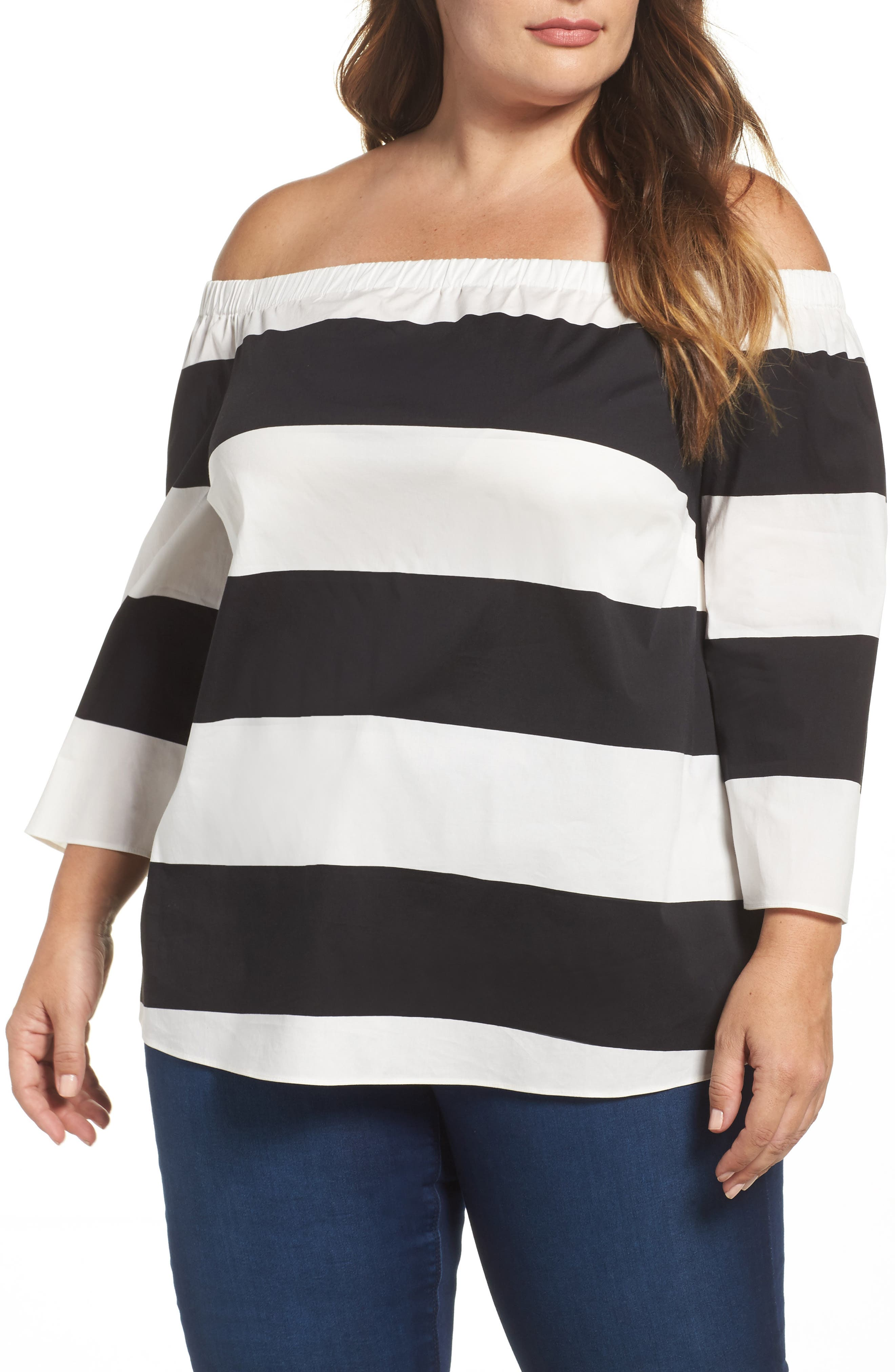 Vince Camuto Camden Stripe Off the Shoulder Top (Plus Size)