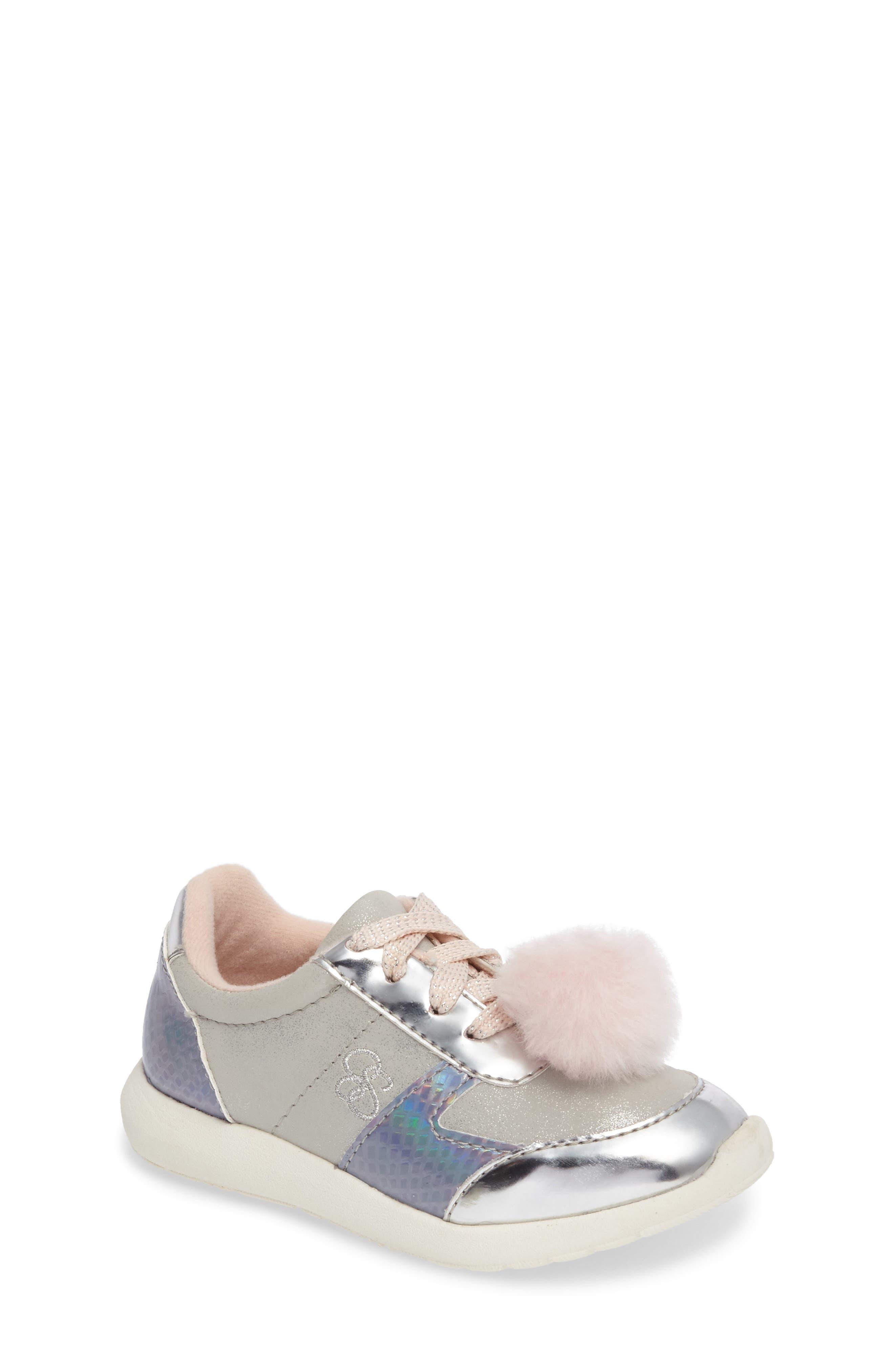 Jessica Simpson Darby Faux Fur Pom Sneaker (Walker & Toddler)