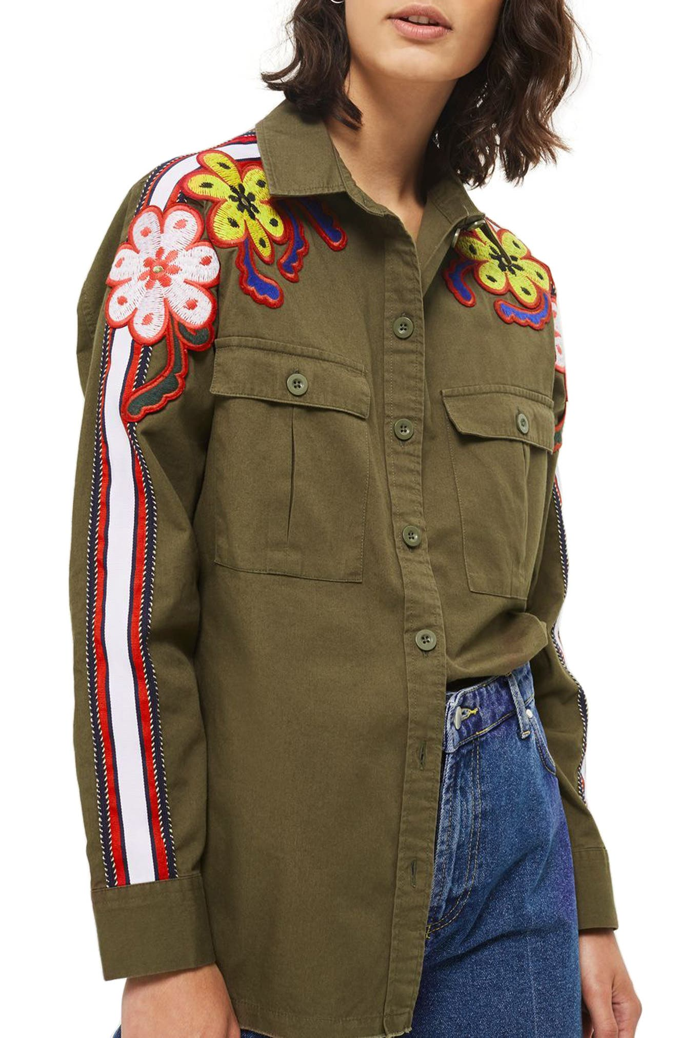 Topshop Embroidered Flower Power Shirt