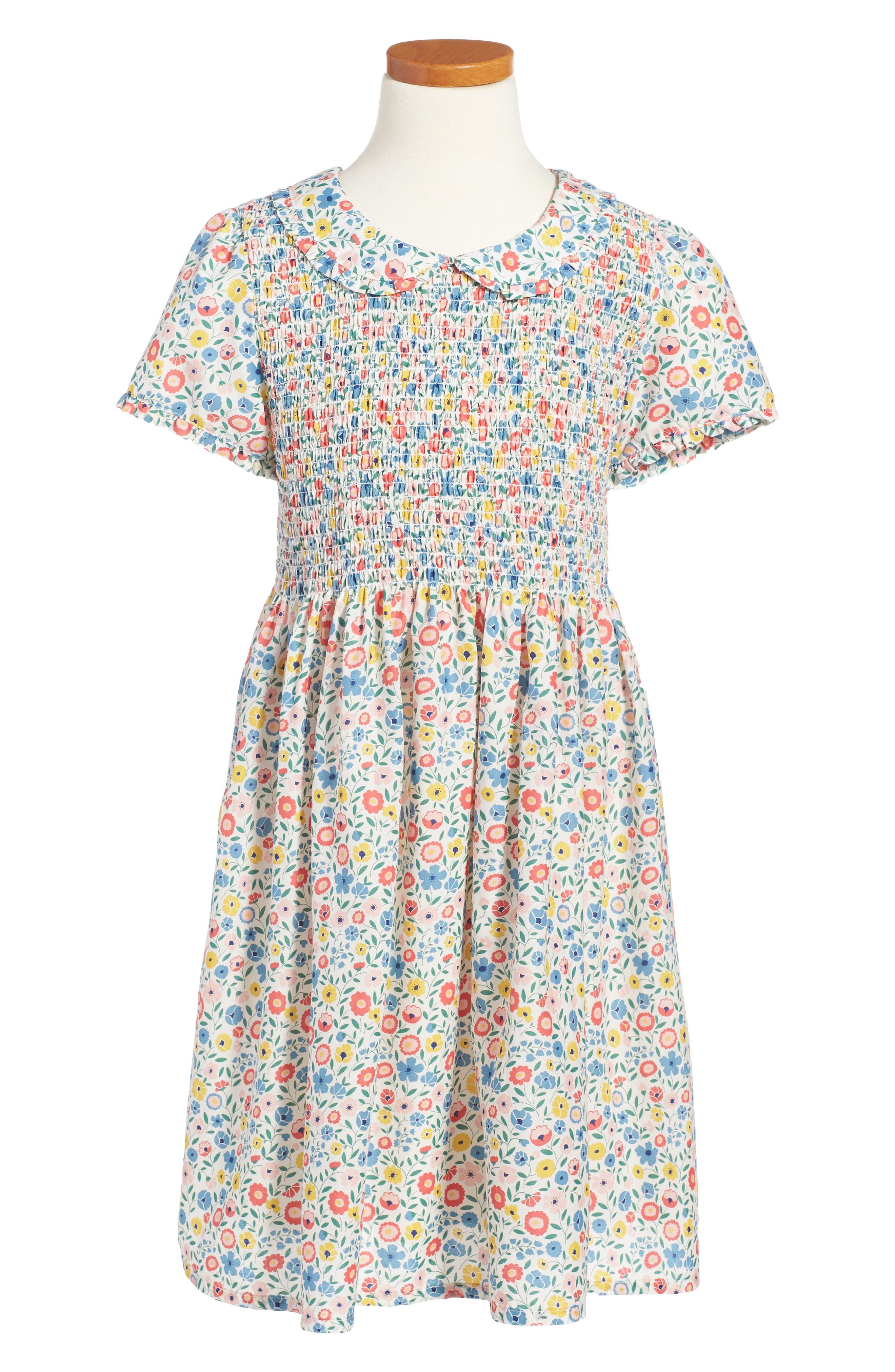 Mini Boden Pretty Smocked Dress (Toddler Girls, Little Girls & Big Girls)