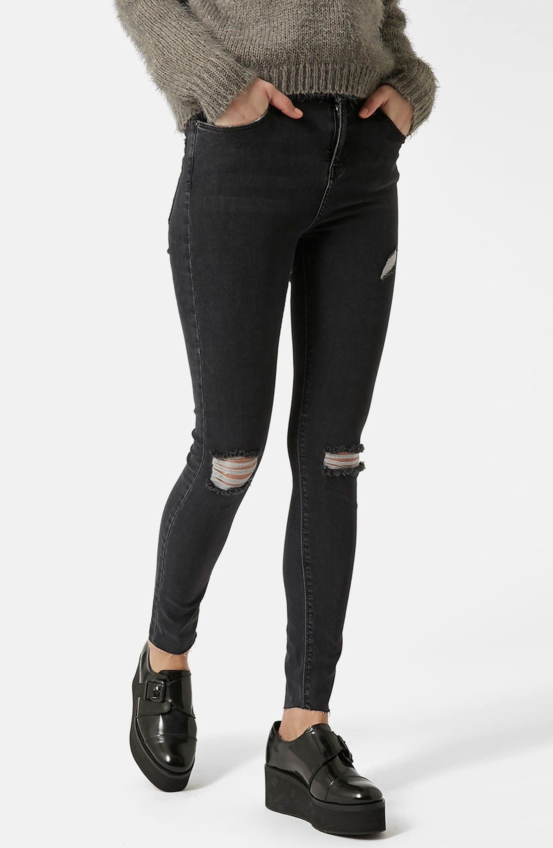 Alternate Image 6  - Topshop Moto 'Jamie' Ripped Ankle Skinny Jeans (Black)