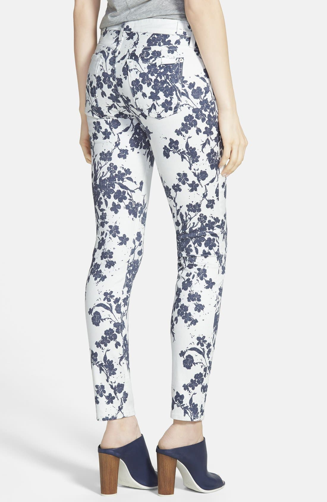 Alternate Image 2  - 7 For All Mankind® 'The Ankle Skinny' Floral Jeans (Indigo Freesia Print)