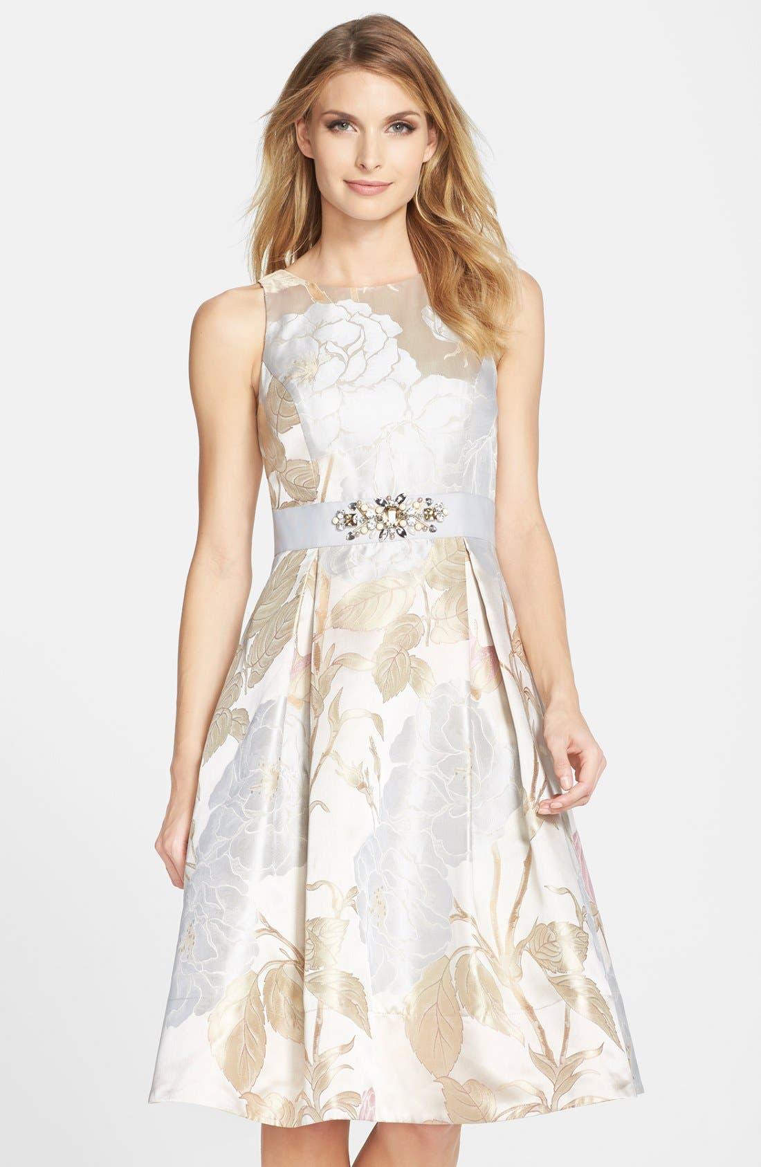 Alternate Image 1 Selected - Eliza J Embellished Jacquard Fit & Flare Dress