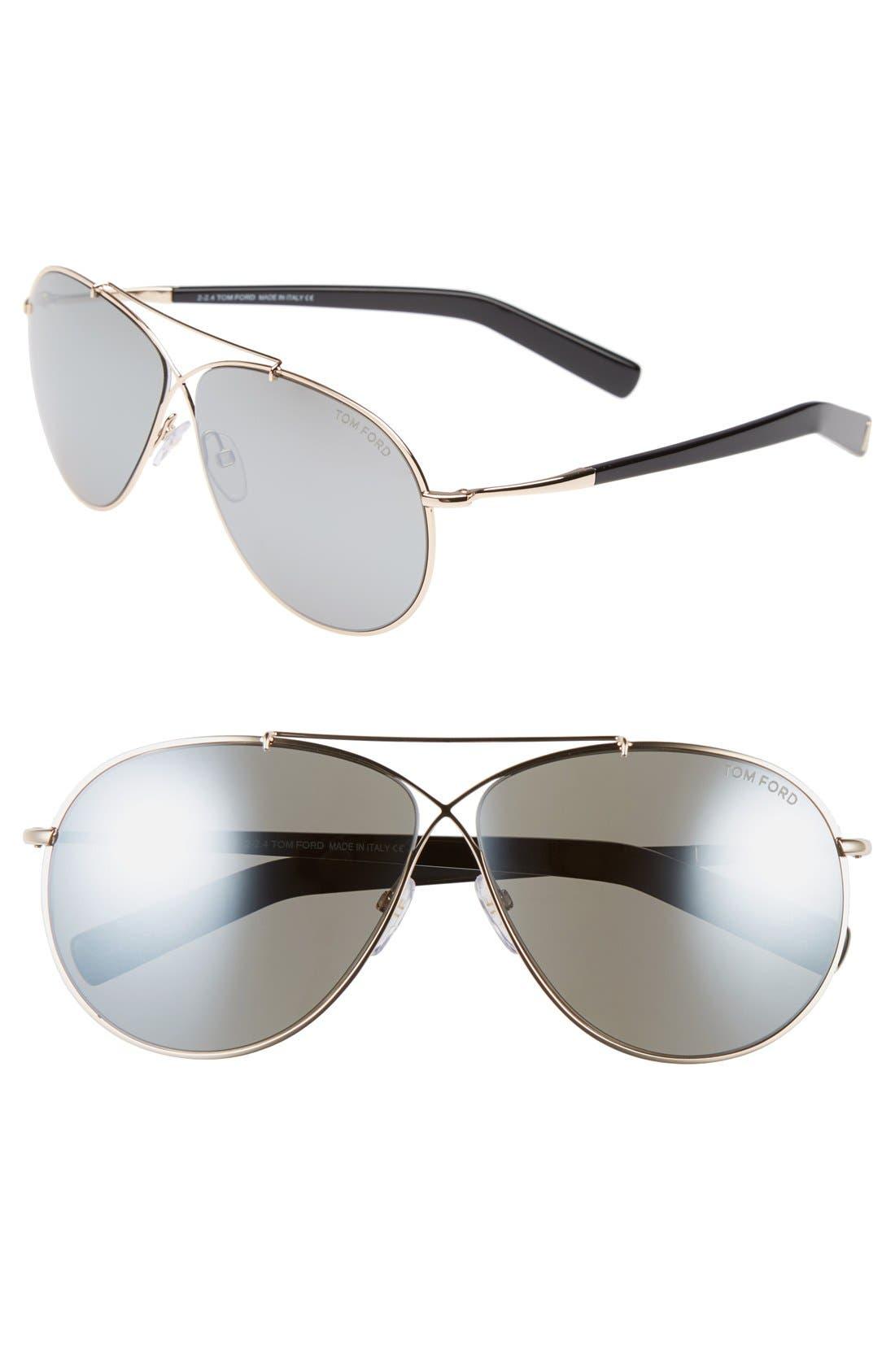 Main Image - Tom Ford 'Eva' 61mm Aviator Sunglasses