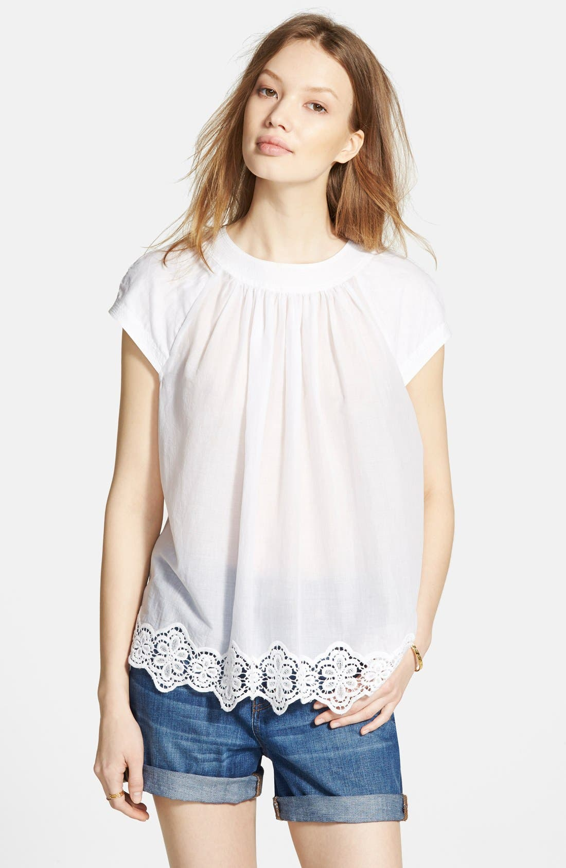 Alternate Image 1 Selected - Madewell Eyelet Hem Peasant Top