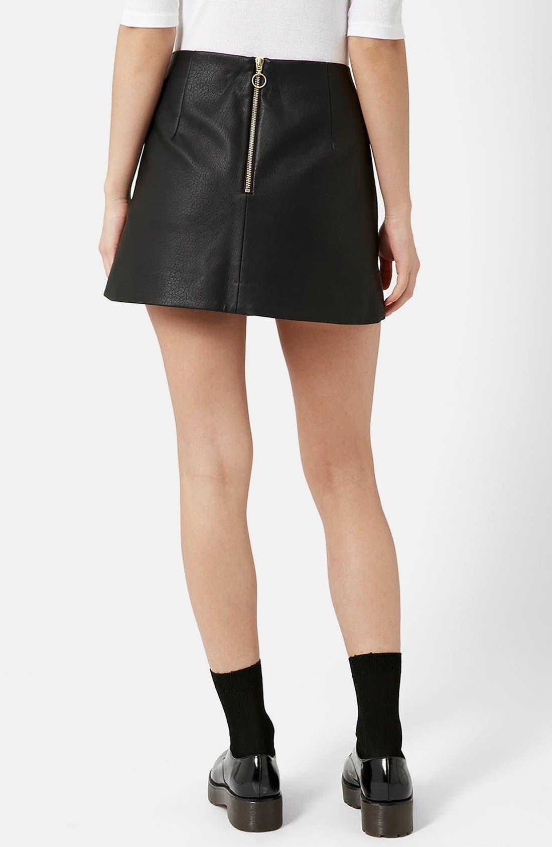 Alternate Image 2  - Topshop Curved Hem Faux Leather Miniskirt