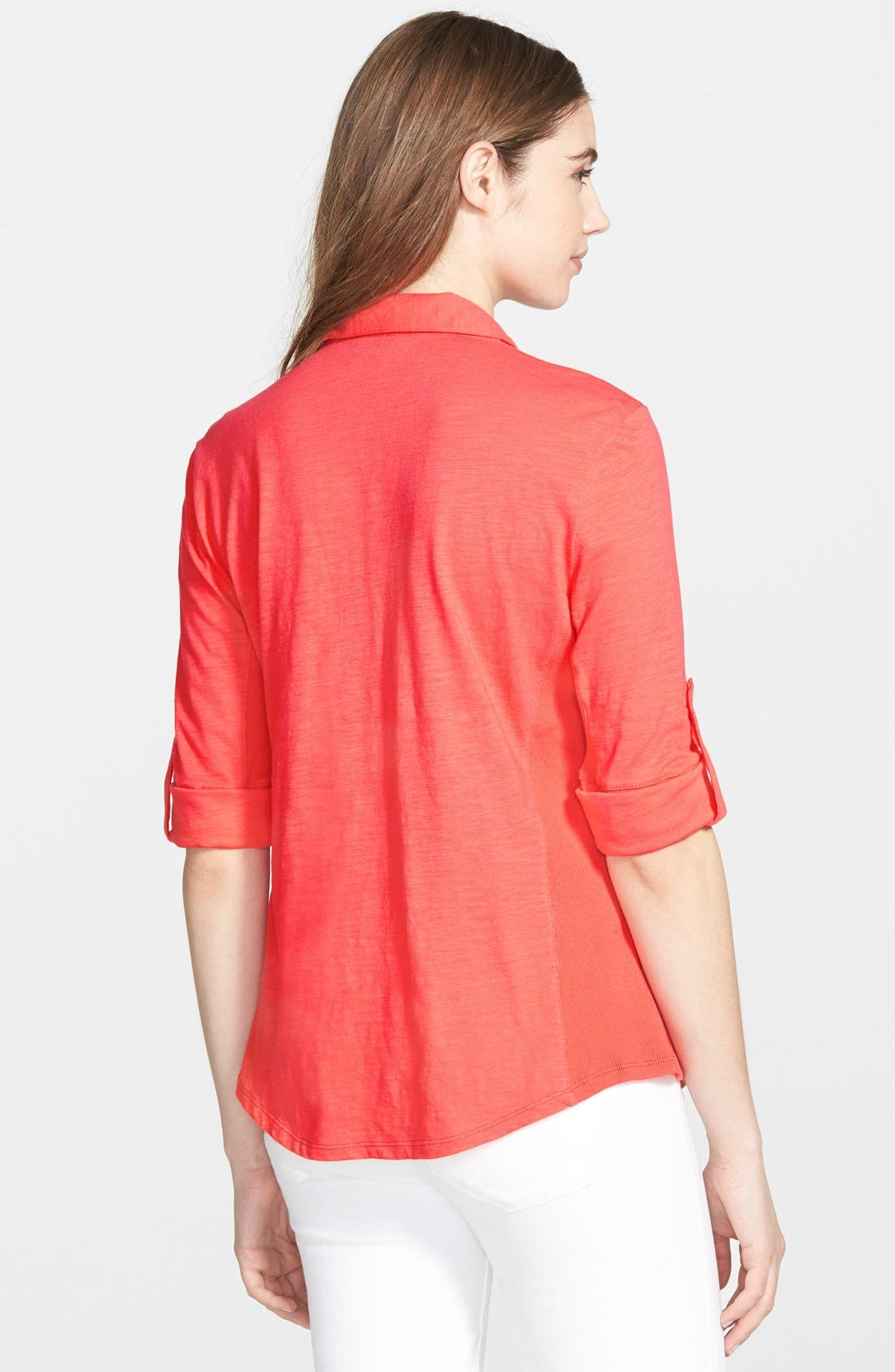 Alternate Image 2  - Sandra Three Quarter Roll Sleeve Knit Shirt