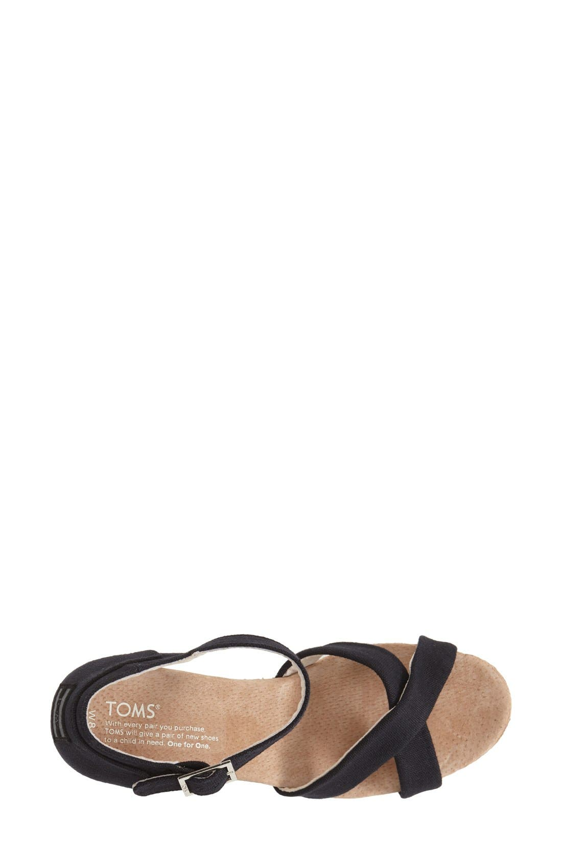 Alternate Image 3  - TOMS Canvas Ankle Strap Wedge Sandal (Women)