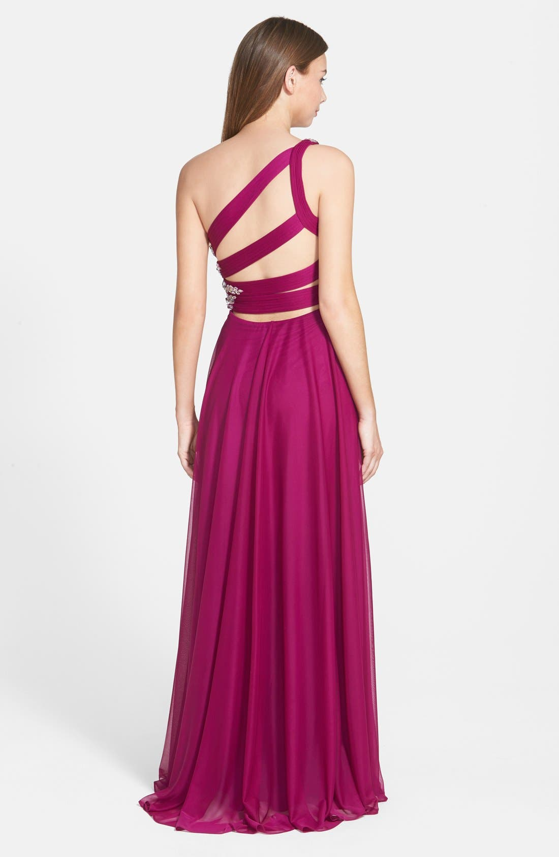 Alternate Image 2  - Xscape Embellished One Shoulder Mesh Gown