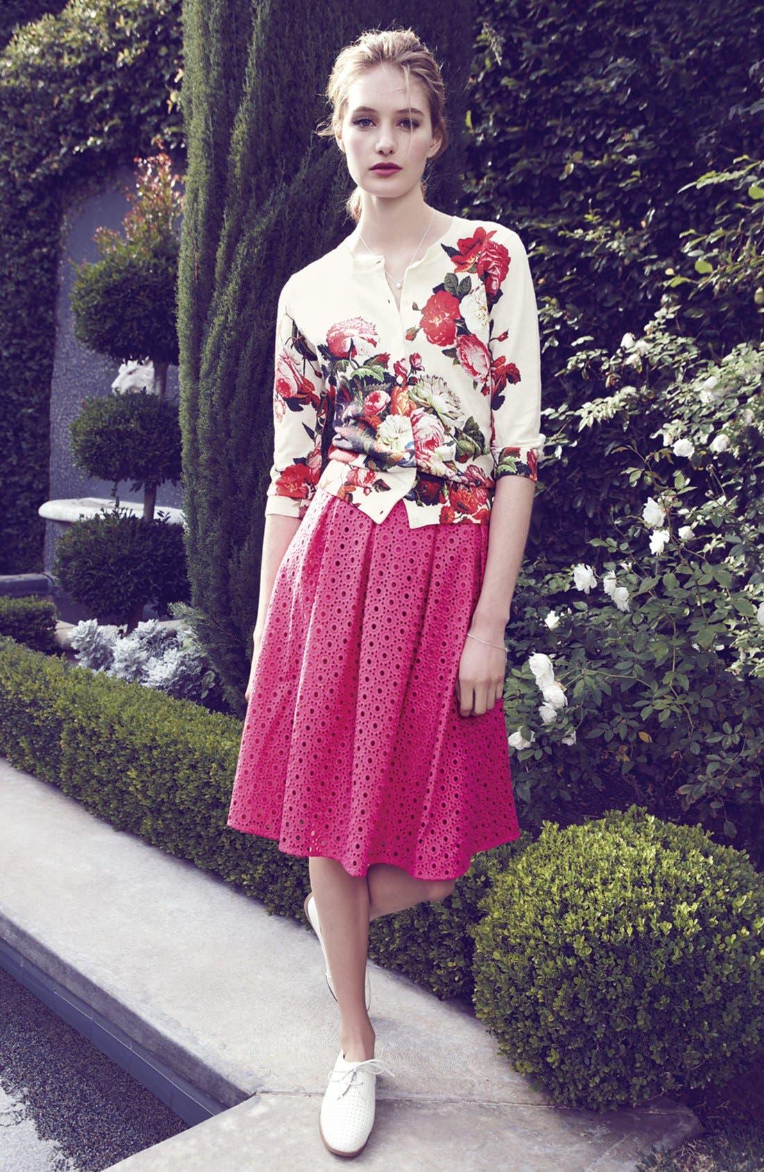 Alternate Image 4  - Halogen® Eyelet Pleat Front Skirt (Regular & Petite)