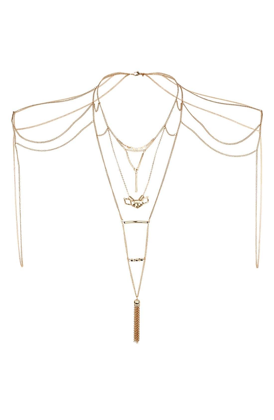 Main Image - Topshop Tassel Drop Body Chain