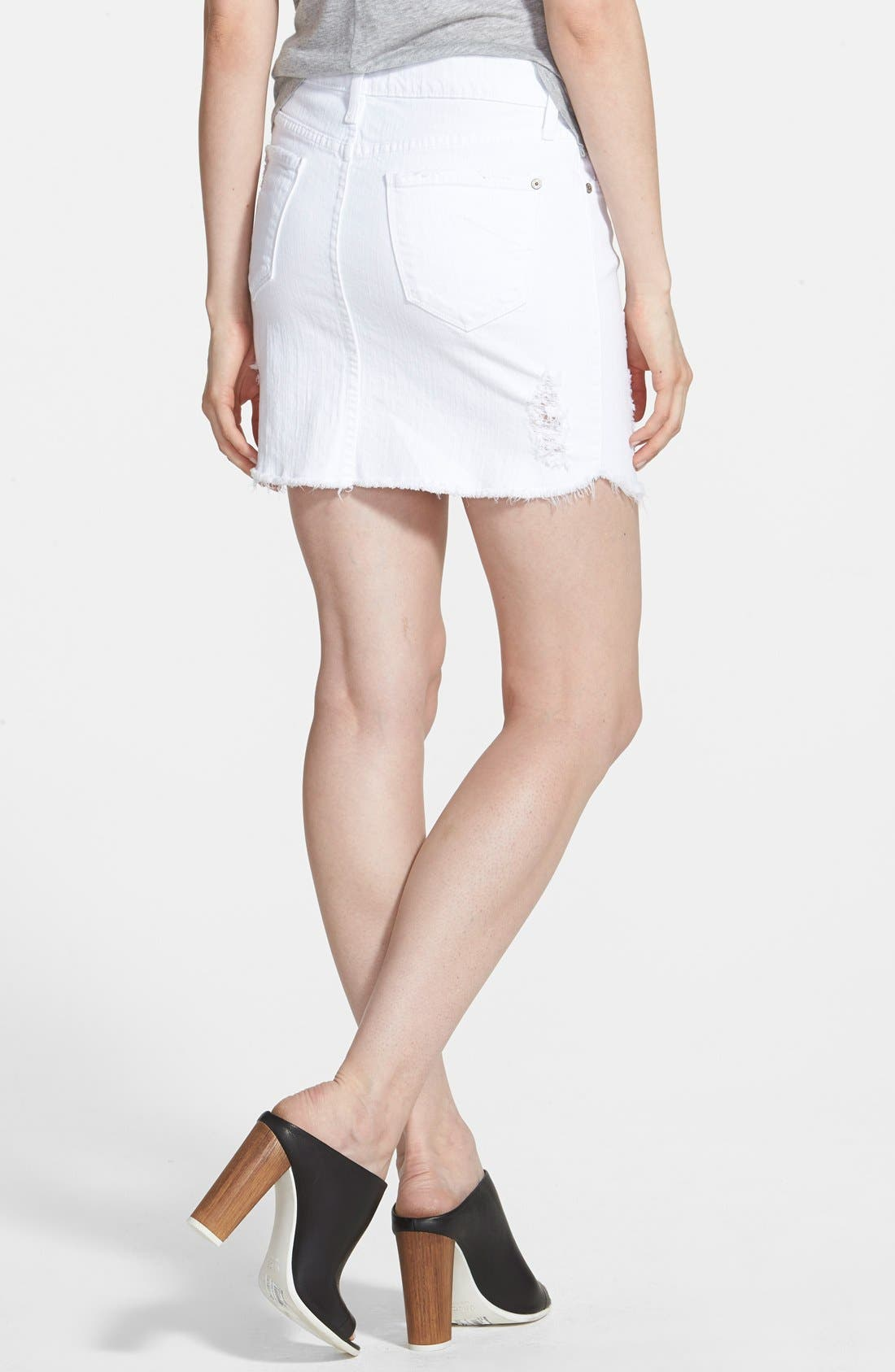 Alternate Image 2  - James Jeans Denim Cutoff Miniskirt (White Opaque)