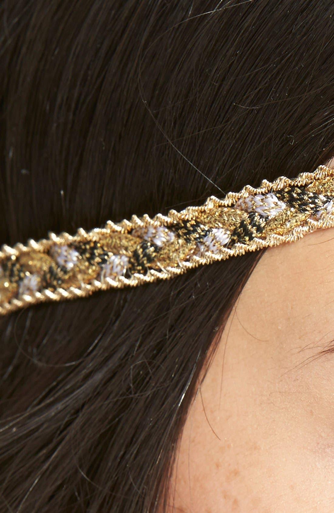 Alternate Image 2  - Alexia Crawford Braided Metallic Head Wrap